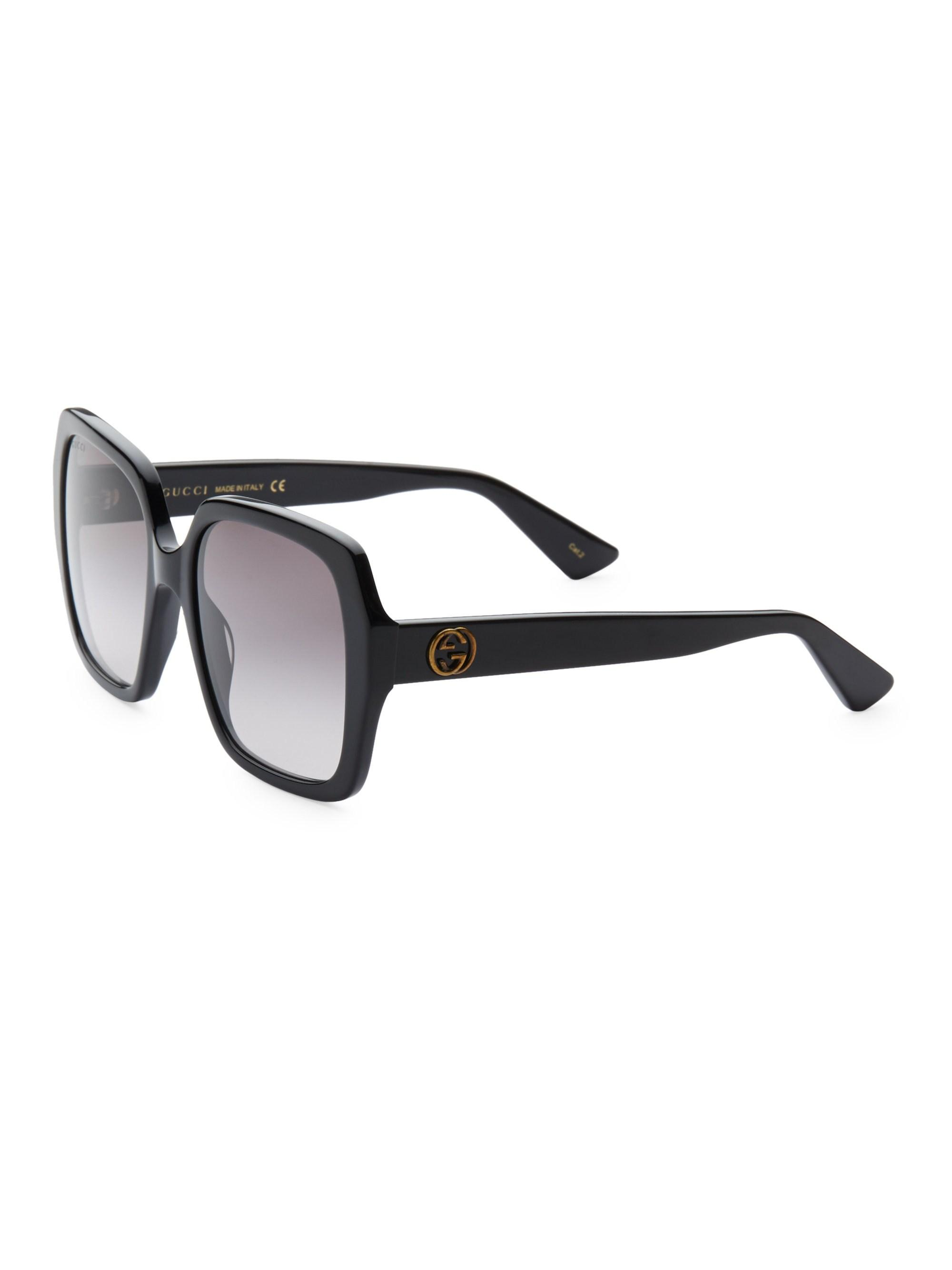 d3ee21d86d Gucci - Women s 54mm Square Two-tone Sunglasses - Black - Lyst. View  fullscreen