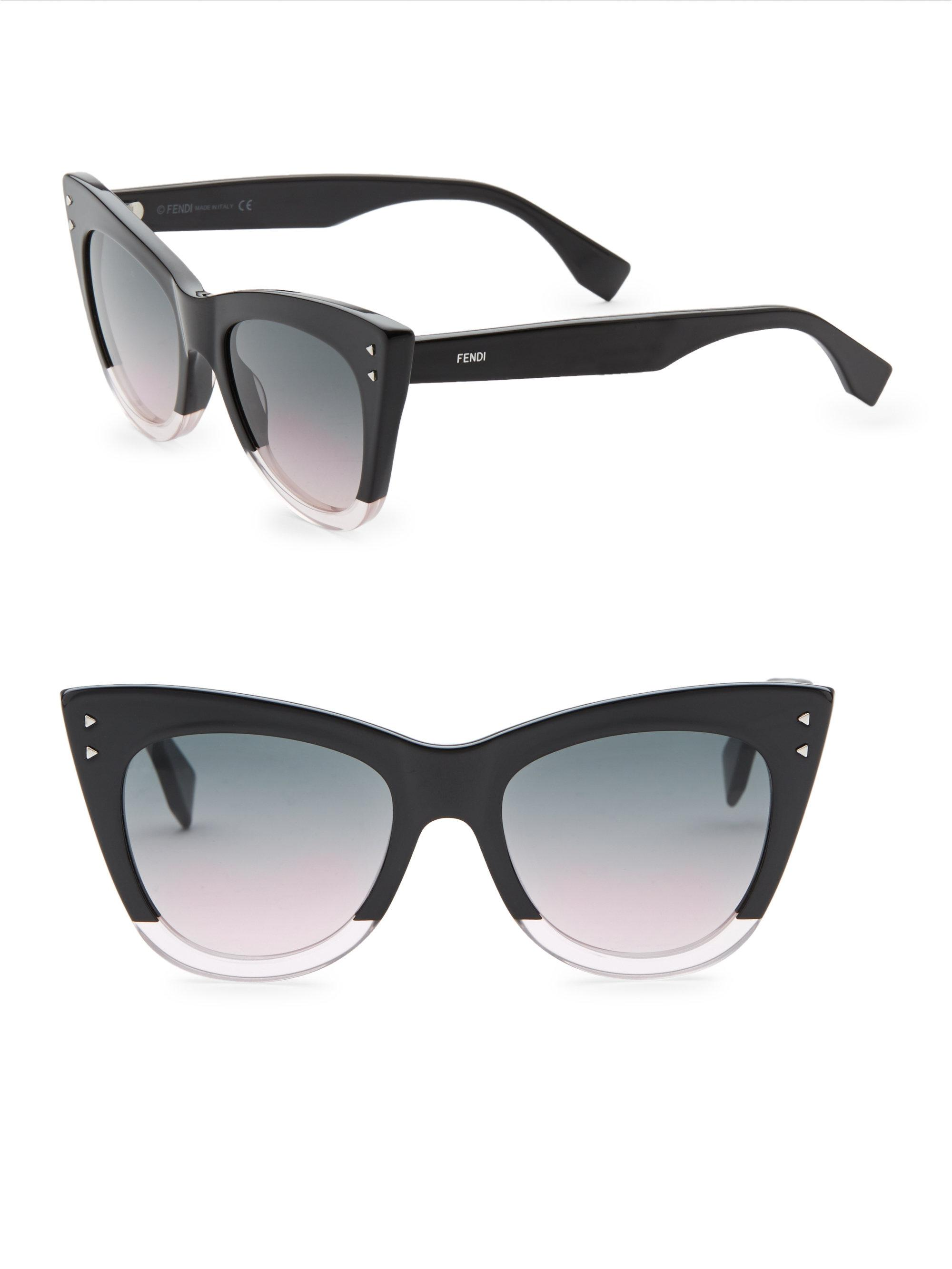 1721e180baafc Fendi - Black 52mm Two-tone Cat Eye Sunglasses - Lyst. View fullscreen