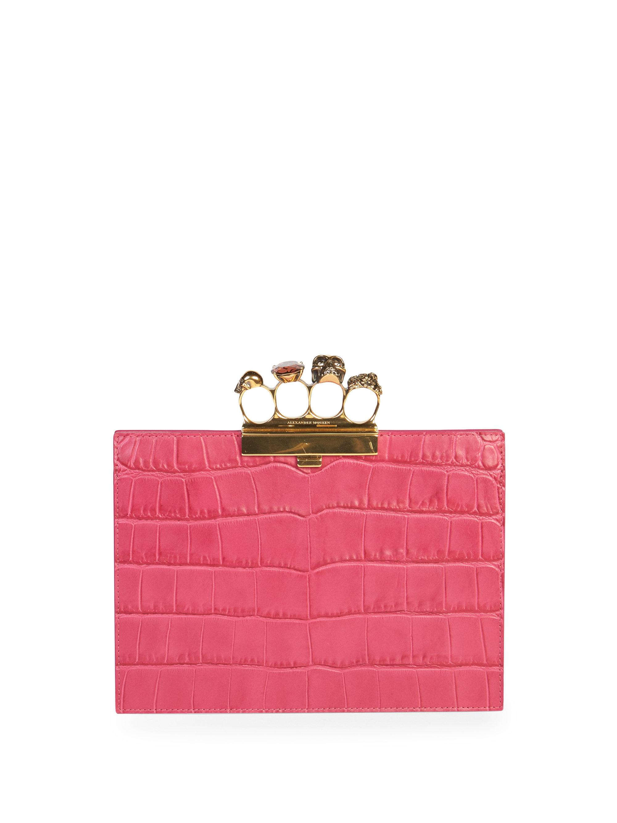 Alexander McQueen Jeweled Four Ring Crocodile-Embossed Clutch Bag, Dark Pink