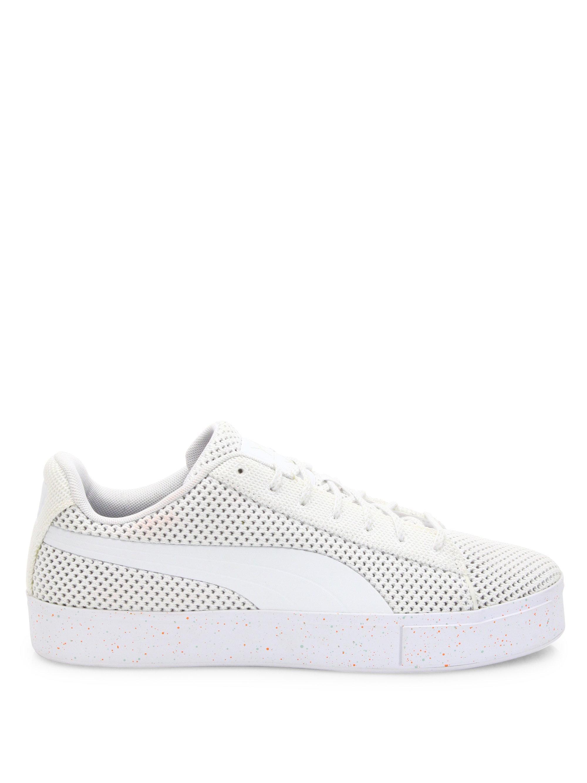 PUMA - White Knitted Platform Sneakers - Lyst. View Fullscreen
