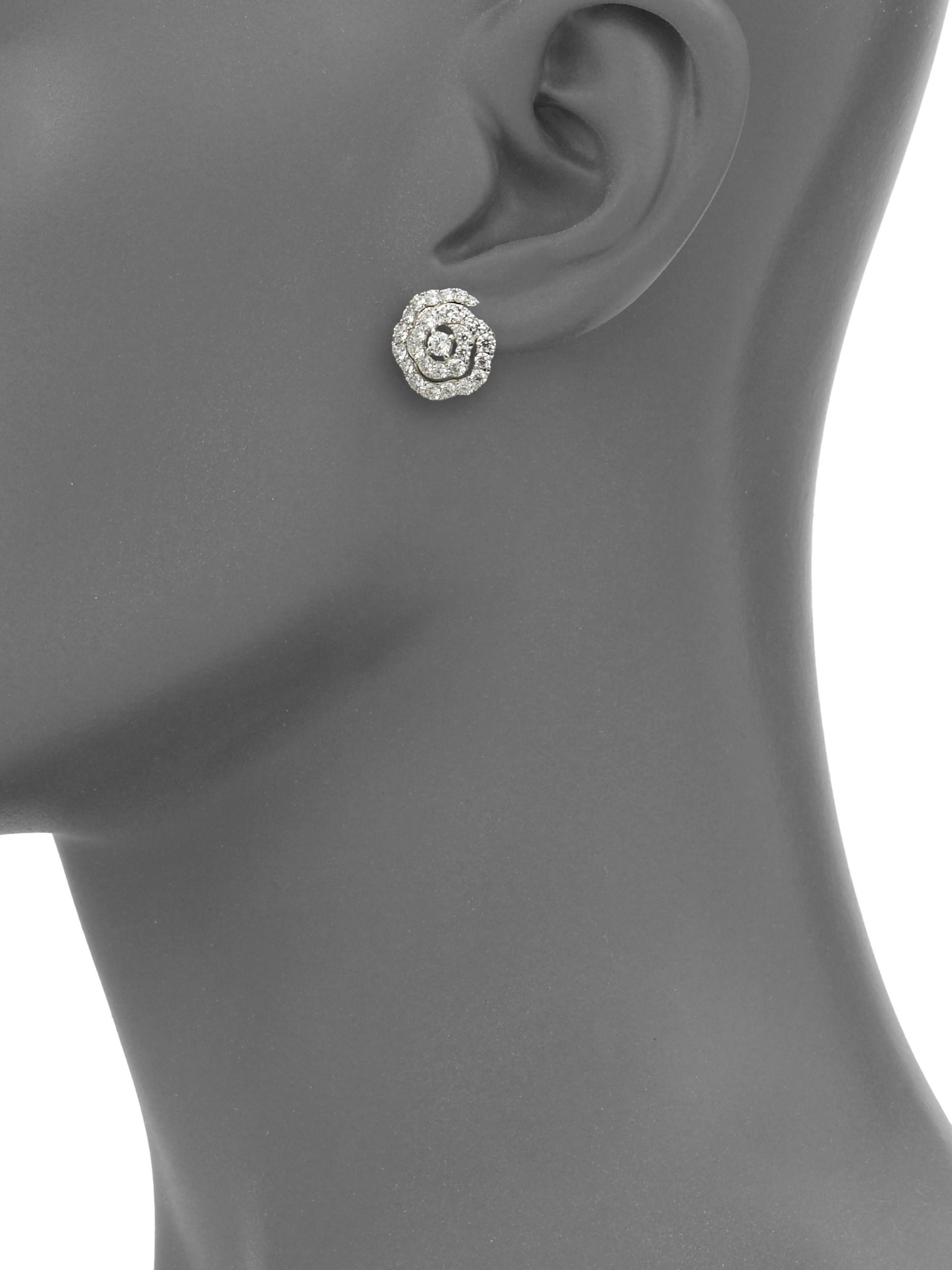 0b0b399d7 ... Diamond & 18k White Gold Floral Stud Earrings - Lyst. View fullscreen