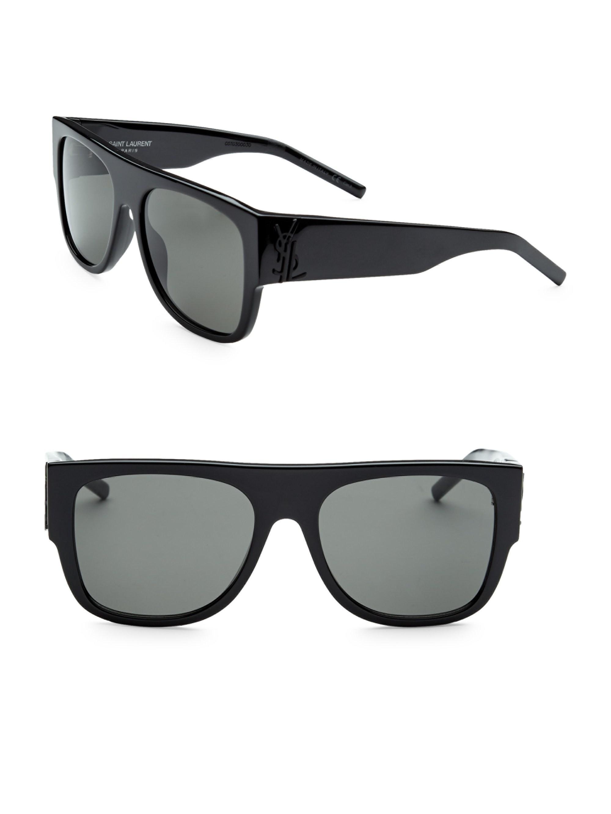 d1601aef73 Lyst - Saint Laurent Men s 55mm Squared Flat Top Sunglasses - Black ...