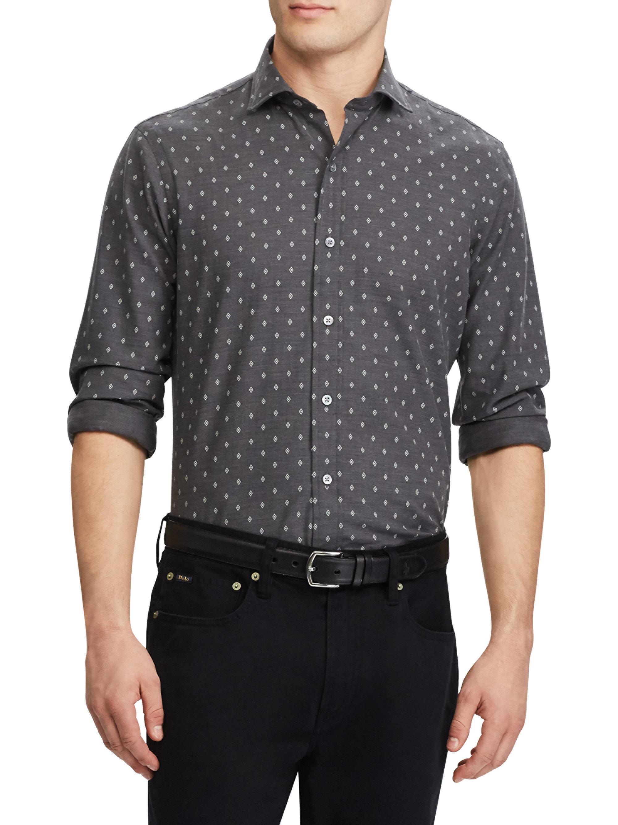 Polo ralph lauren herringbone casual button down shirt in for Polo ralph lauren casual button down shirts