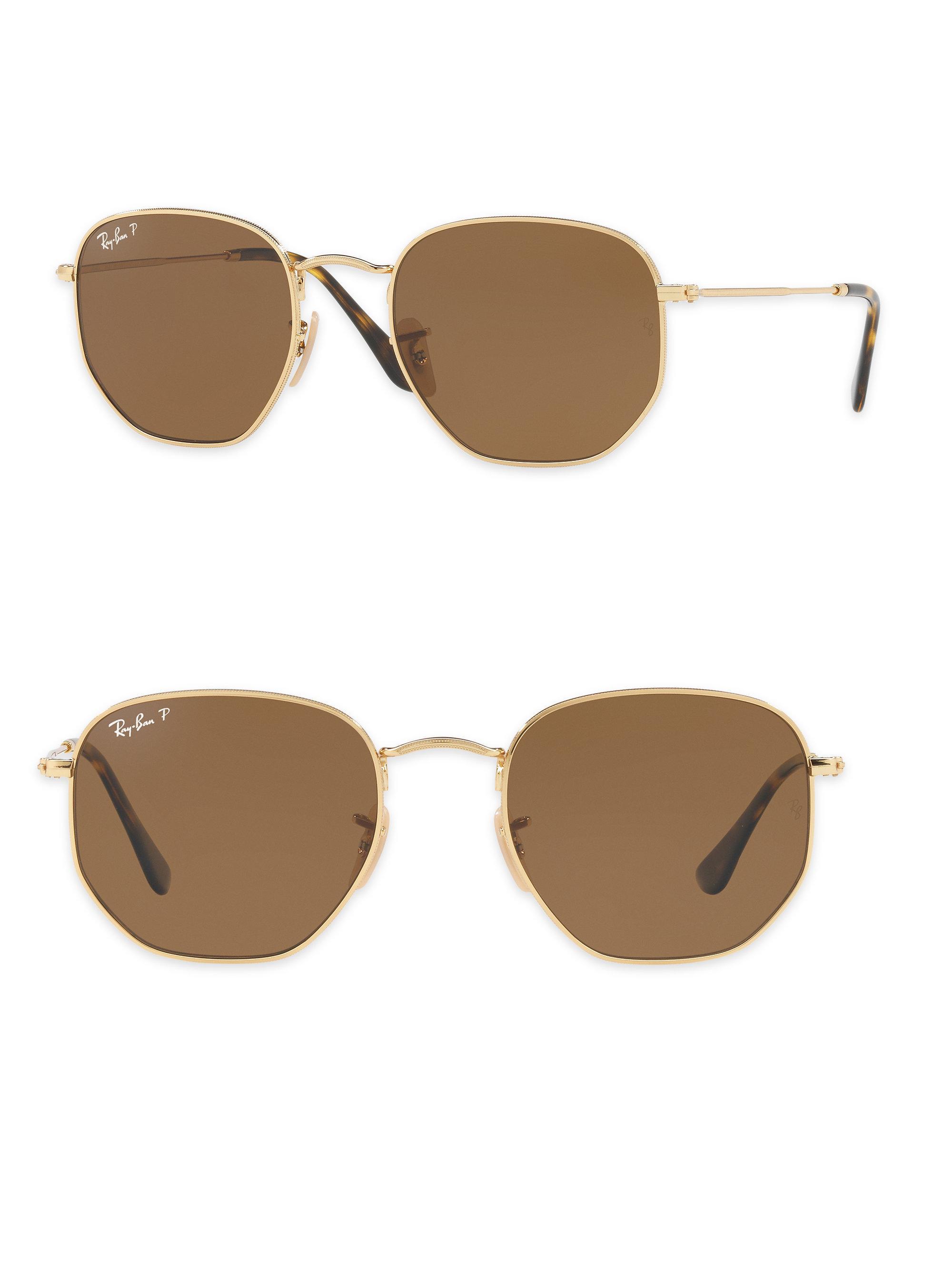 0dd19ae171a ... new zealand ray ban hexagonal sunglasses in metallic lyst d83d2 7fb6f  buy ray ban 0rb3548n hexagonal flat lenses gold sun ...
