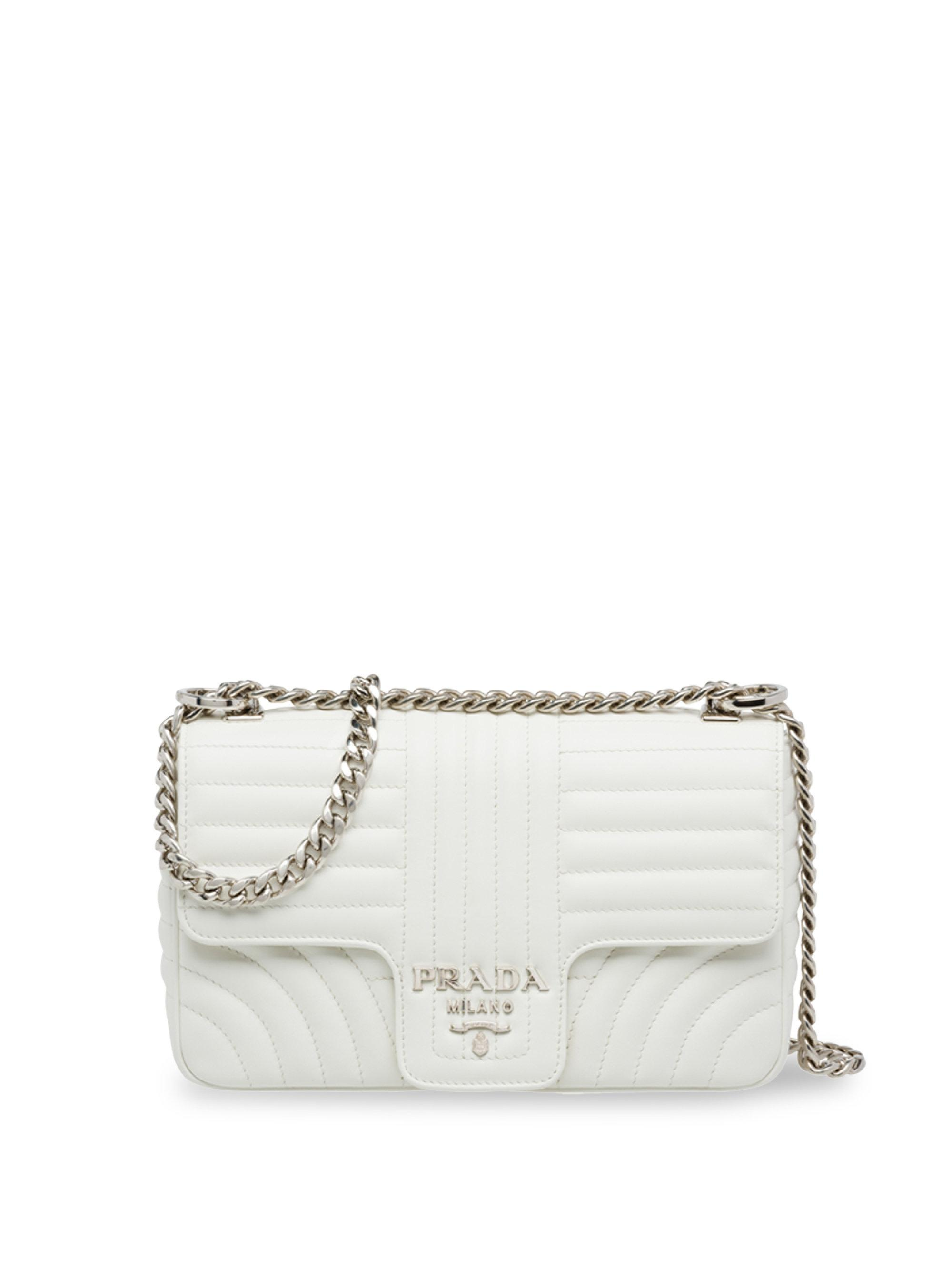 c6667da2ce63 Prada Large Quilted Shoulder Bag in White - Lyst
