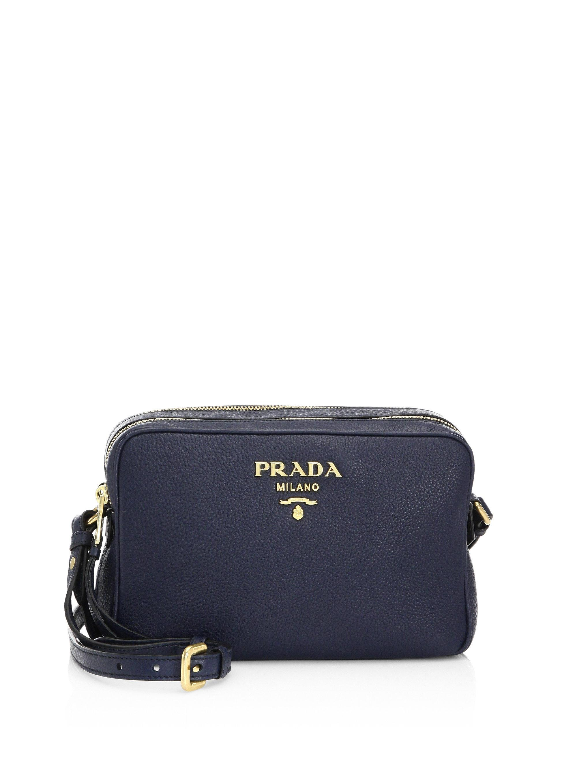 59cc2fac4779 reduced prada tessuto bomber tote lyst 2a210 4f184  real nylon sling bag  black 340e0 c8bdd get lyst prada daino crossbody camera bag in blue