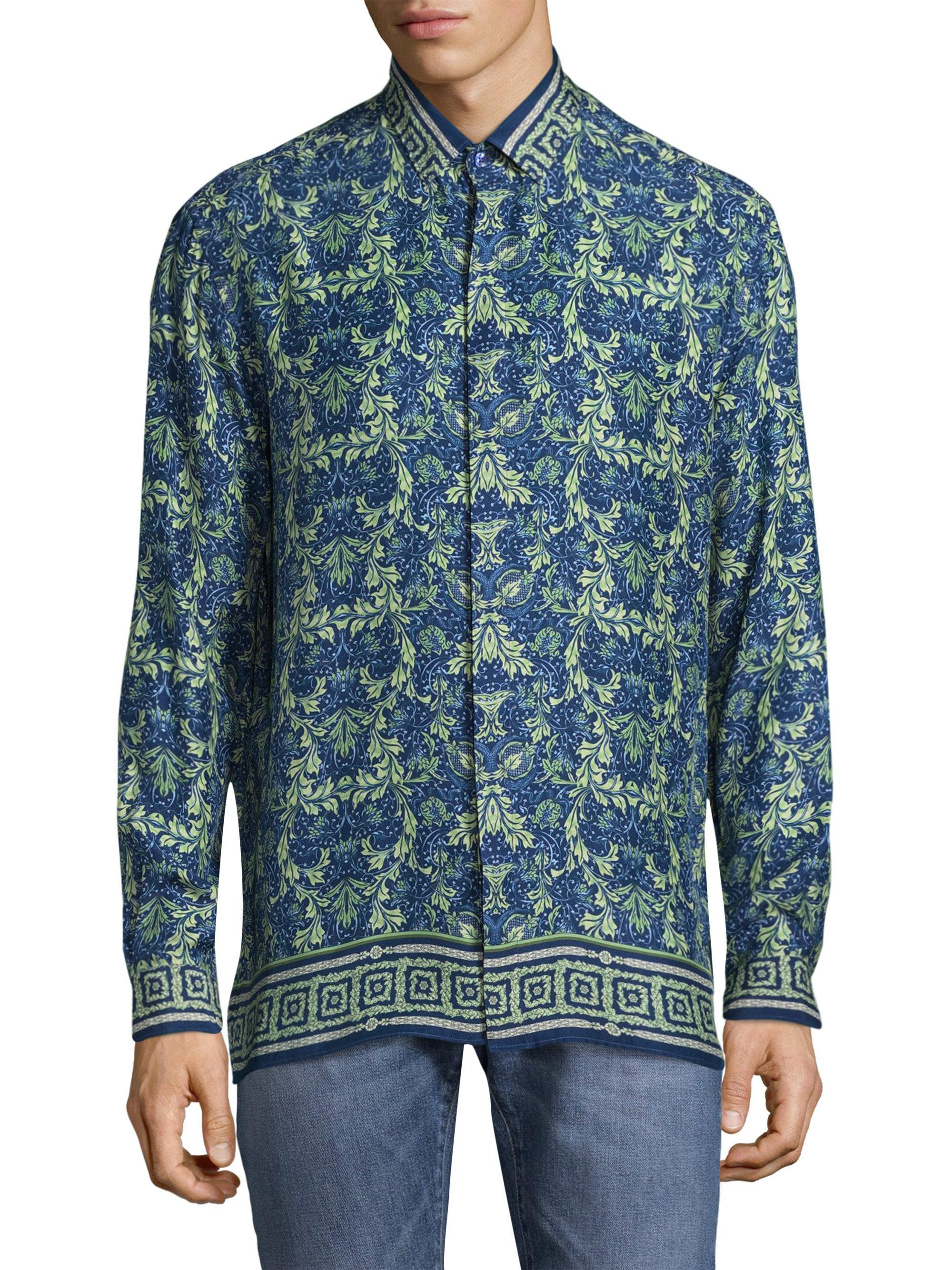Lyst versace printed silk button down shirt in blue for men for Silk button down shirt