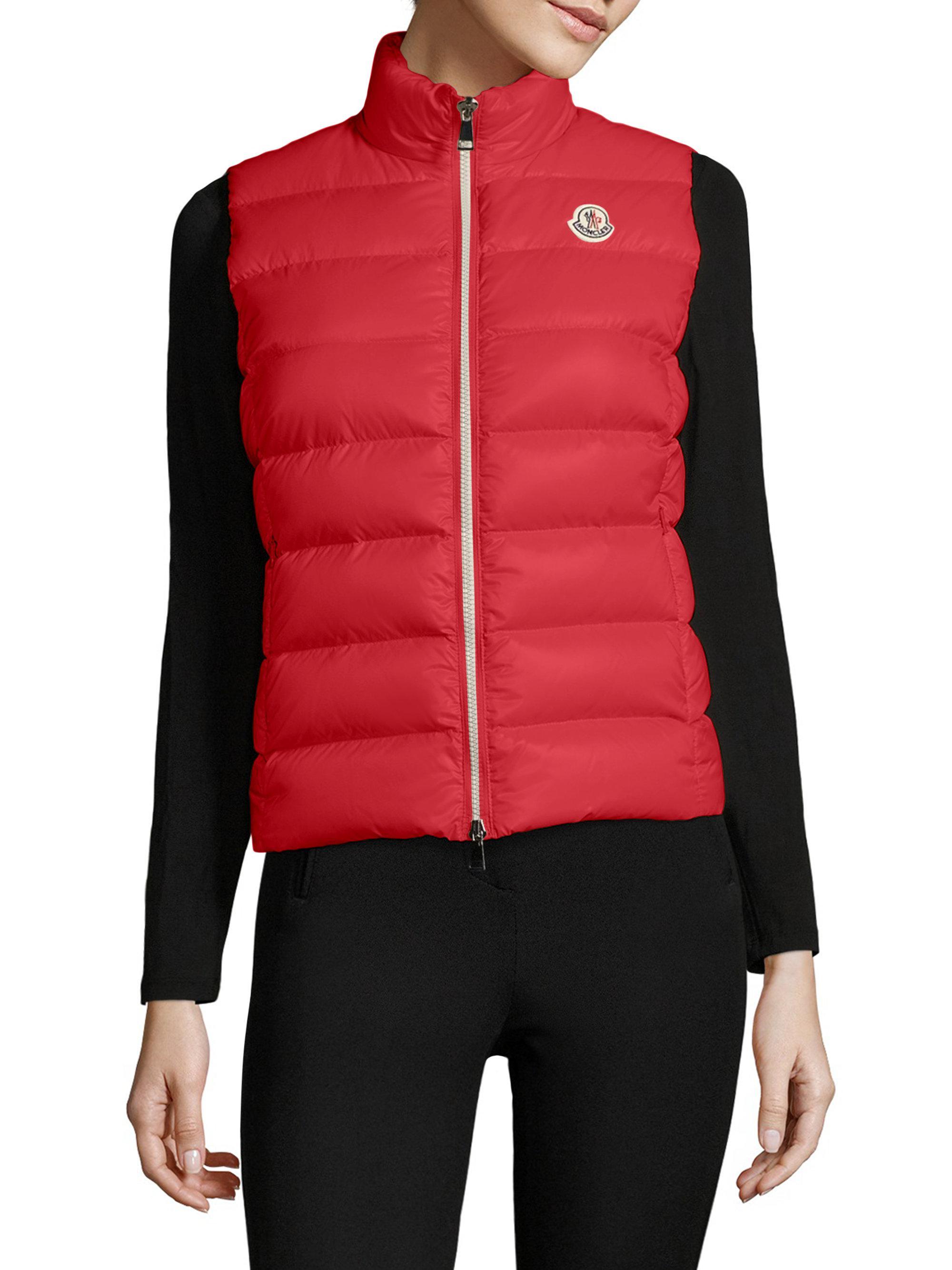 lyst moncler ghany puffer vest in red rh lyst com
