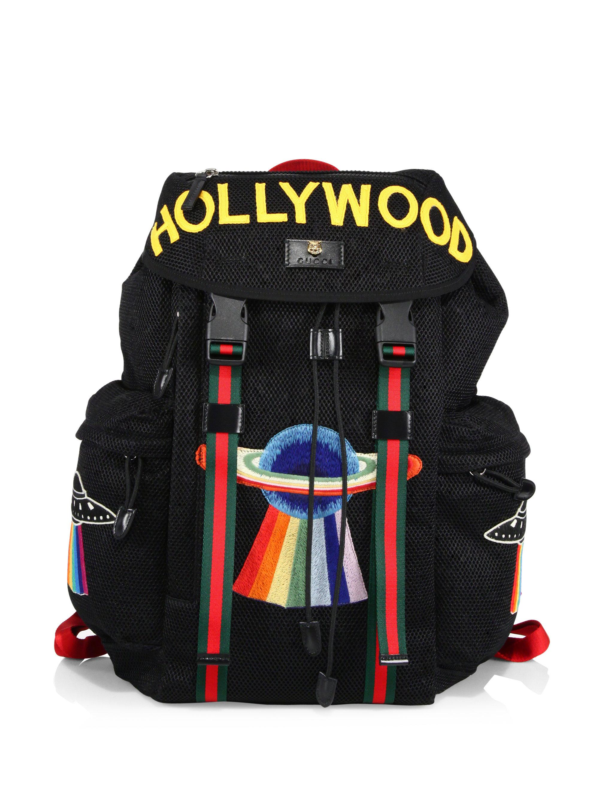 03f83ff716a0 Lyst - Gucci Hollywood Embroidered Mesh Drawstring Backpack in Black ...