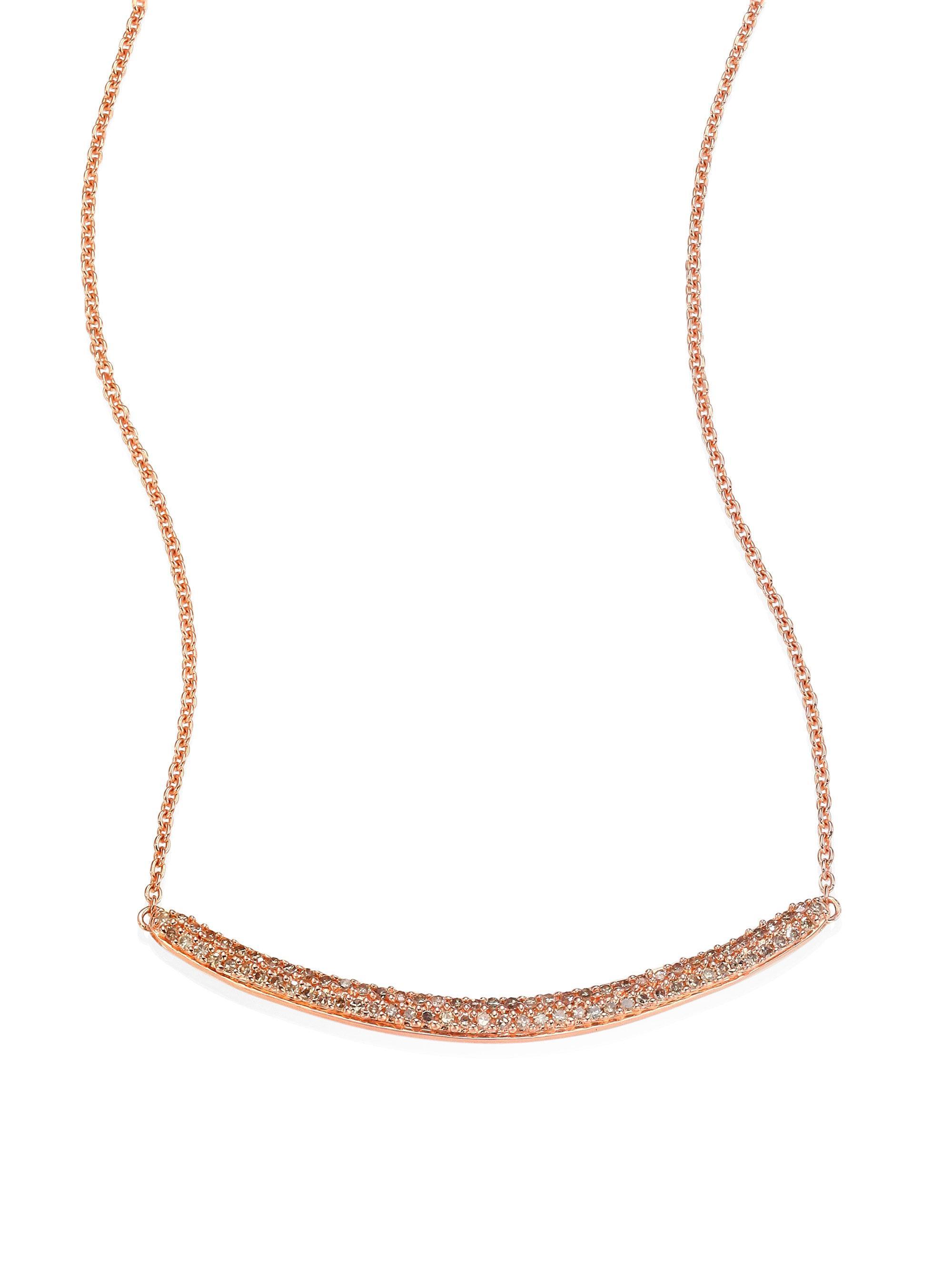 Rose Gold Skinny Curve Necklace Champagne Diamond Monica Vinader 6l7ZRTjOR