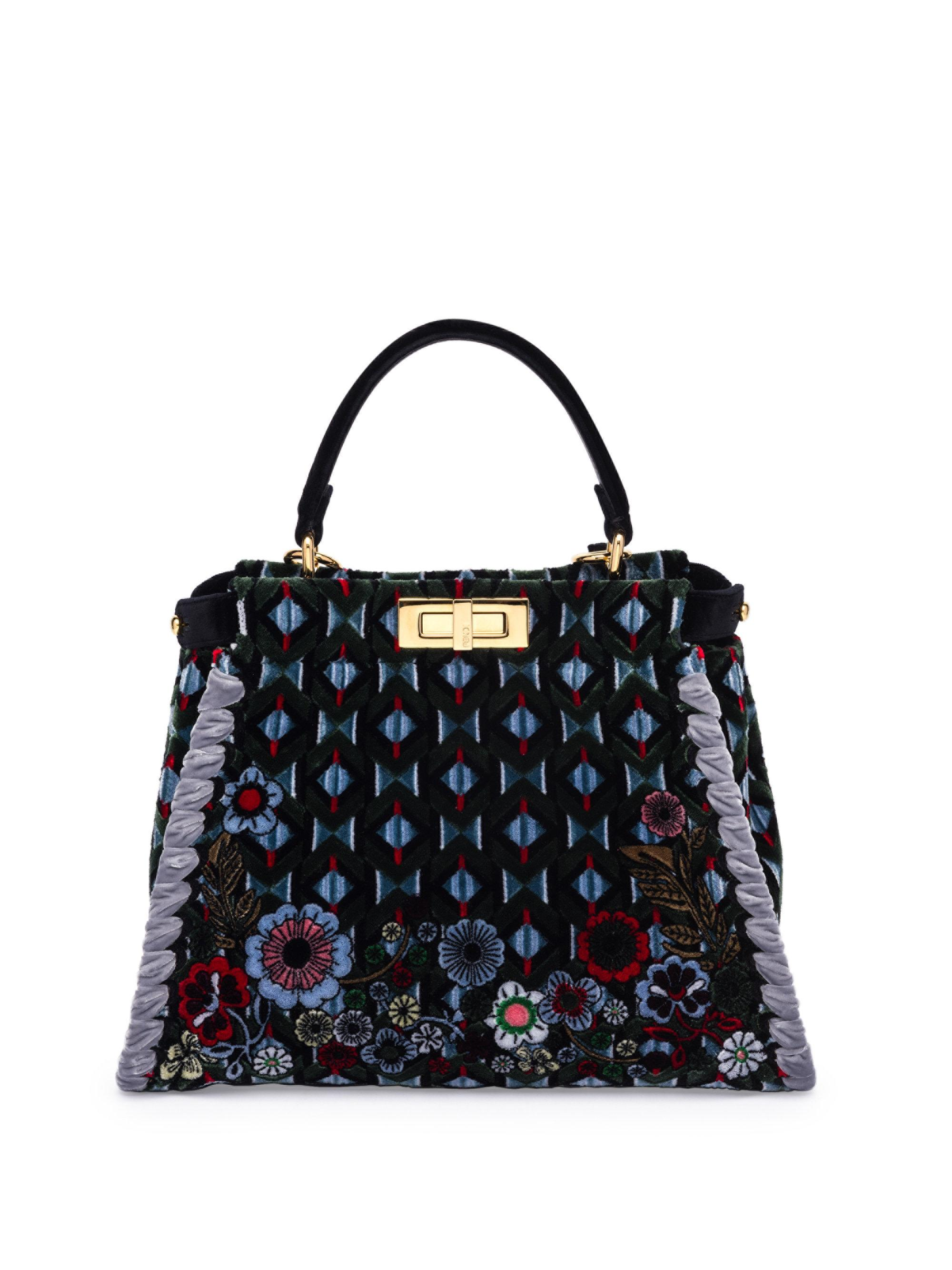 37f474a618b Lyst - Fendi Peekaboo Woven Embroidered Velvet Handbag