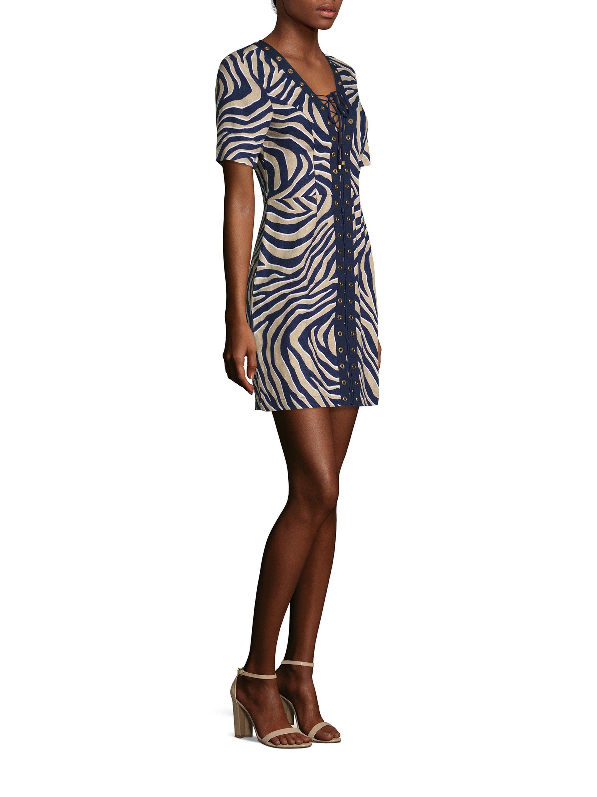 e0a9002193 Lyst - MICHAEL Michael Kors Quincy Lace-up Linen Dress