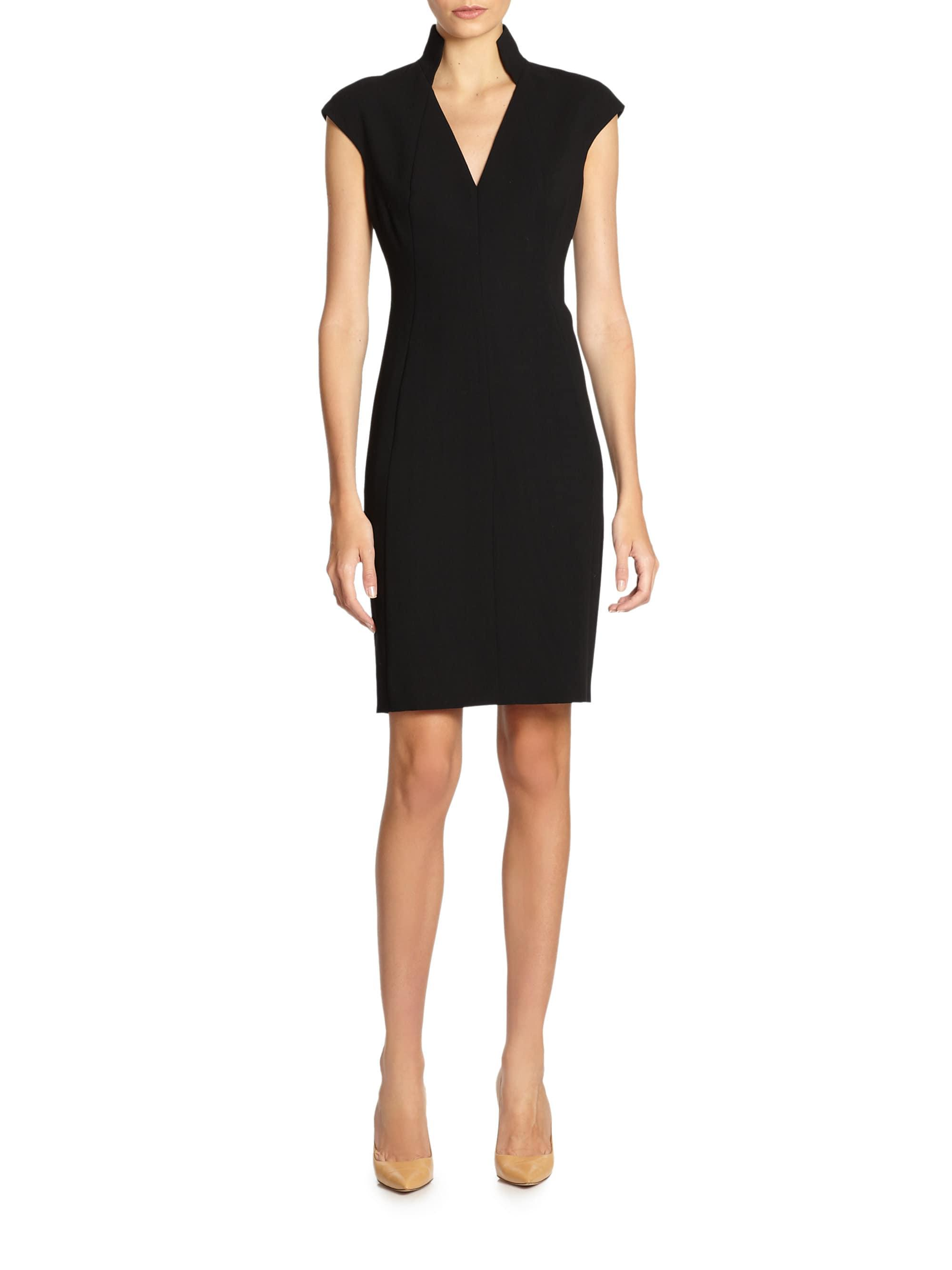 ed76e89290 Akris Architectural Collection Double Face Wool Dress in Black - Lyst