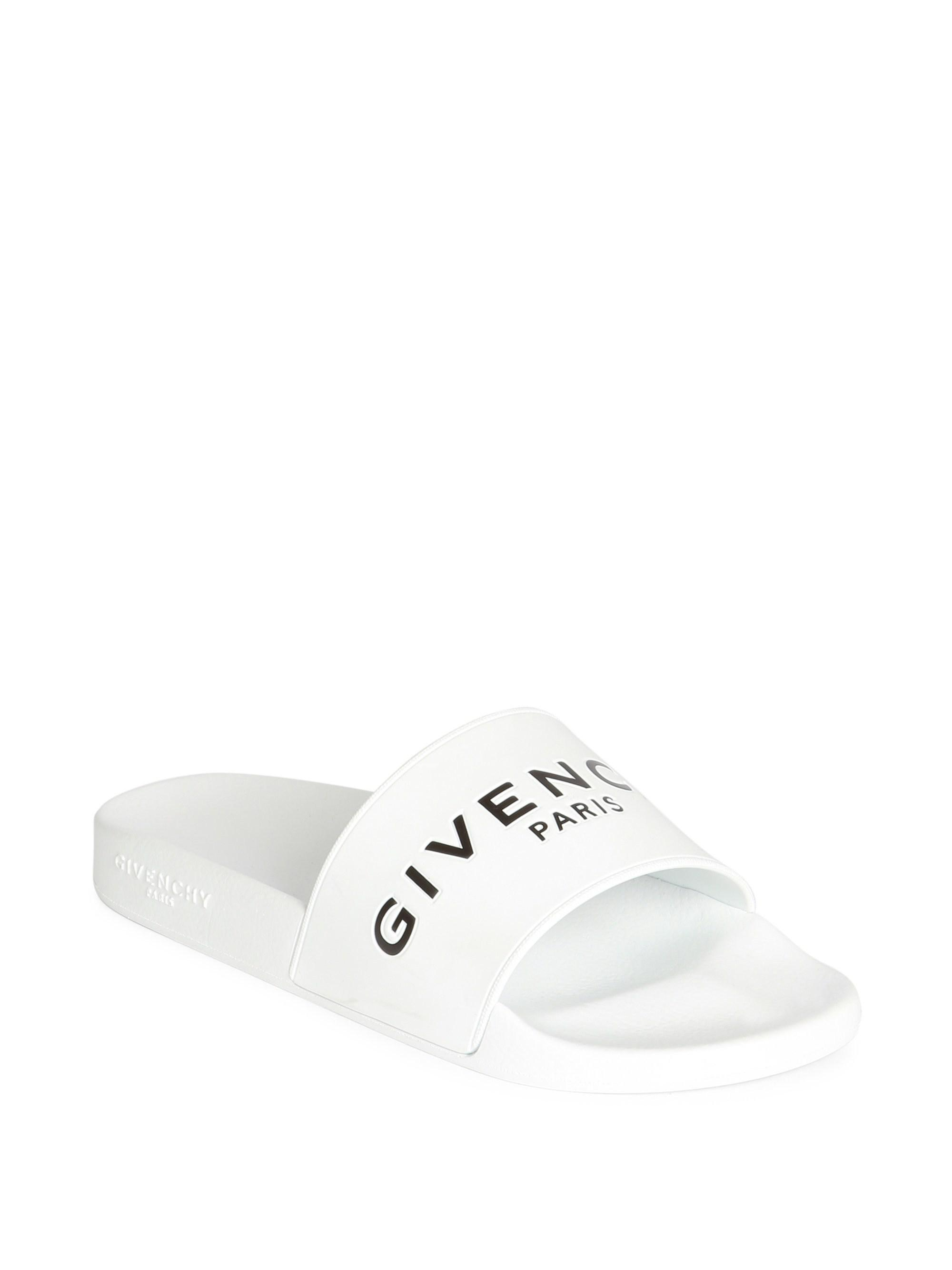 c12600e0f37d6 Givenchy - White Logo Slide Sandals for Men - Lyst. View fullscreen