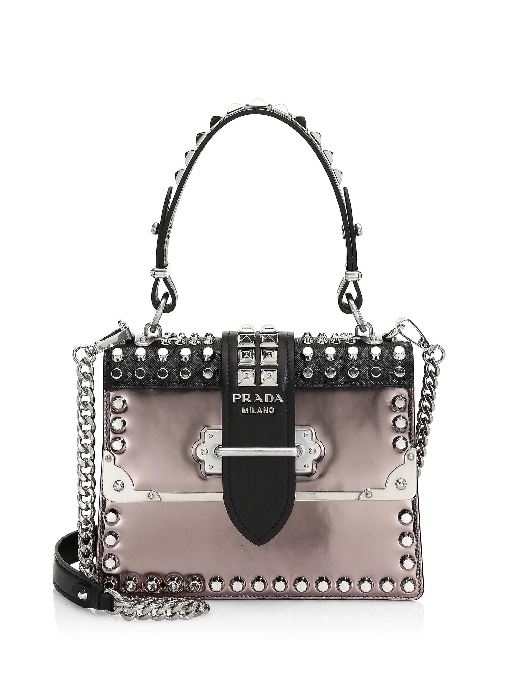 Lyst - Prada Studded Cahier Leather Top Handle Bag in Black 0782d02a23