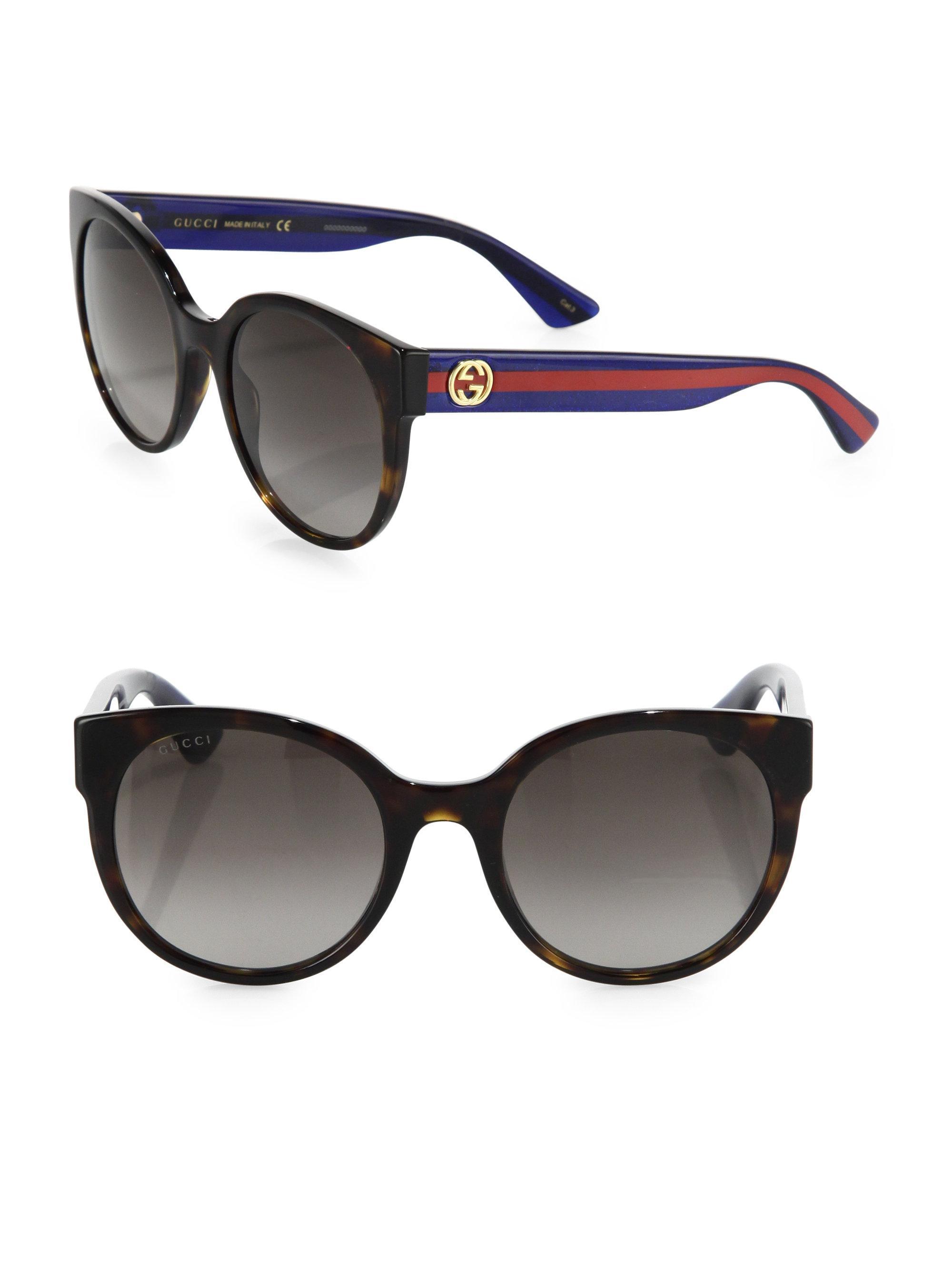 6879c586b06 Lyst - Gucci Women s 54mm Web-temple Round Sunglasses - Havana