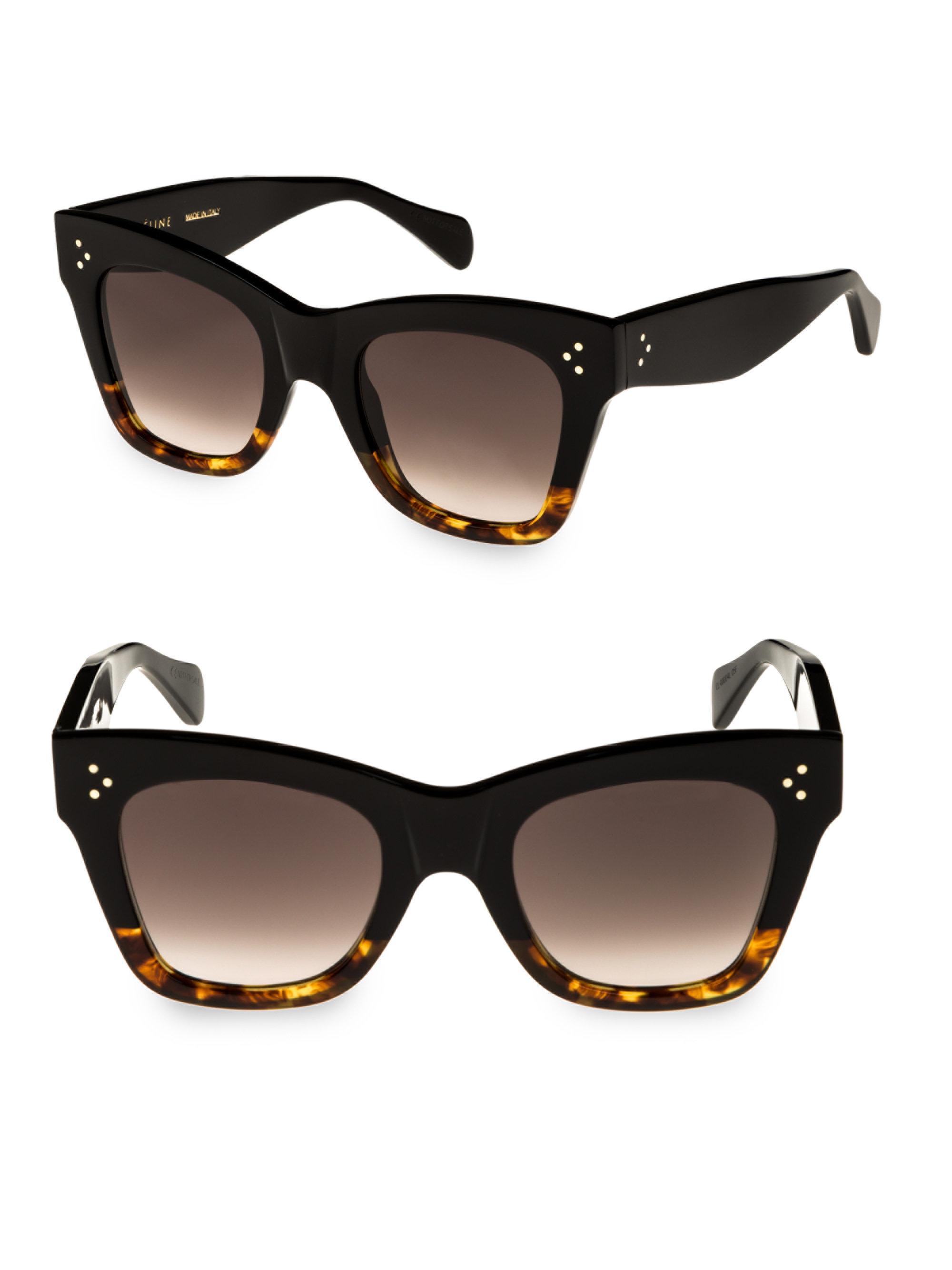 7858346f0e2 Céline Havana Rectangular Cat Eye Sunglasses in Brown - Lyst