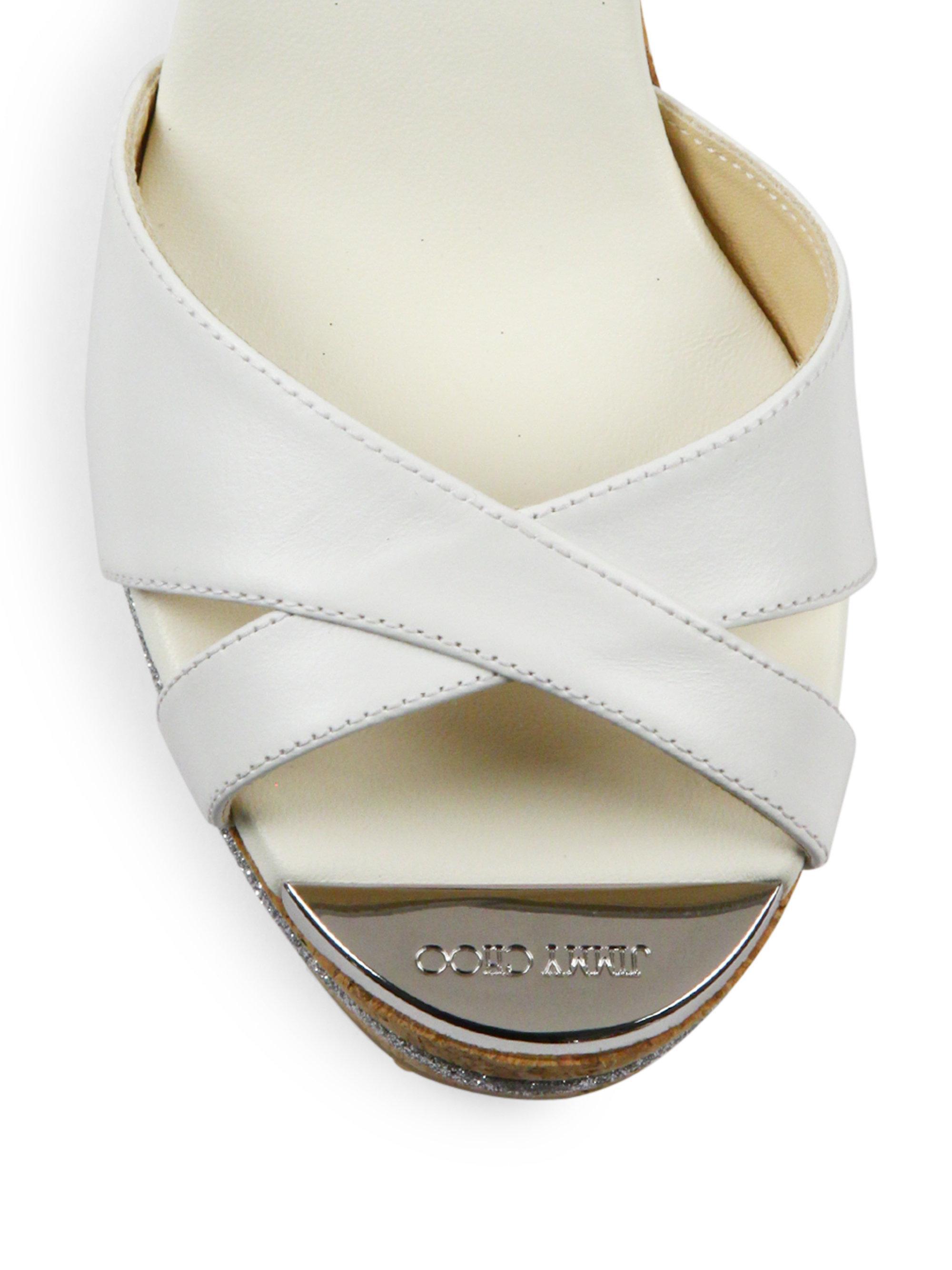 a6e6b4e3298f Lyst - Jimmy Choo Perfume 120 Leather Cork Wedge Slides in White