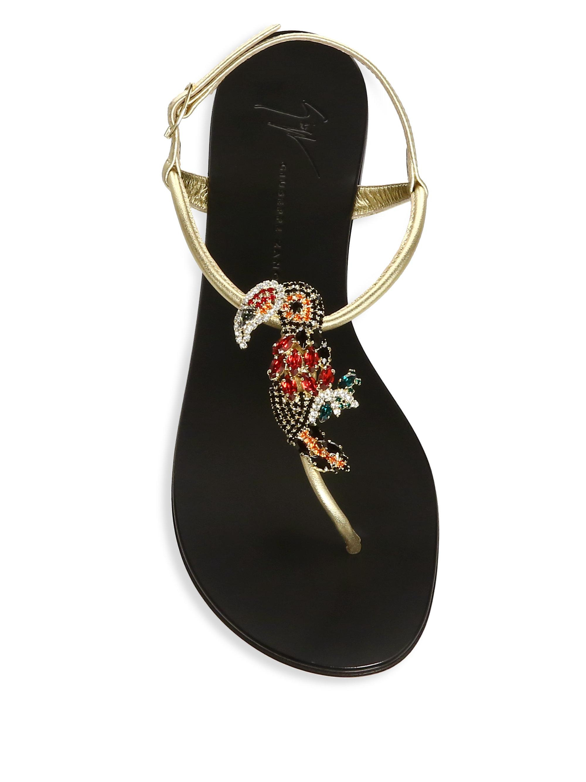 c74eb657e4c Lyst - Giuseppe Zanotti Embellished Bird Leather Thong Sandals