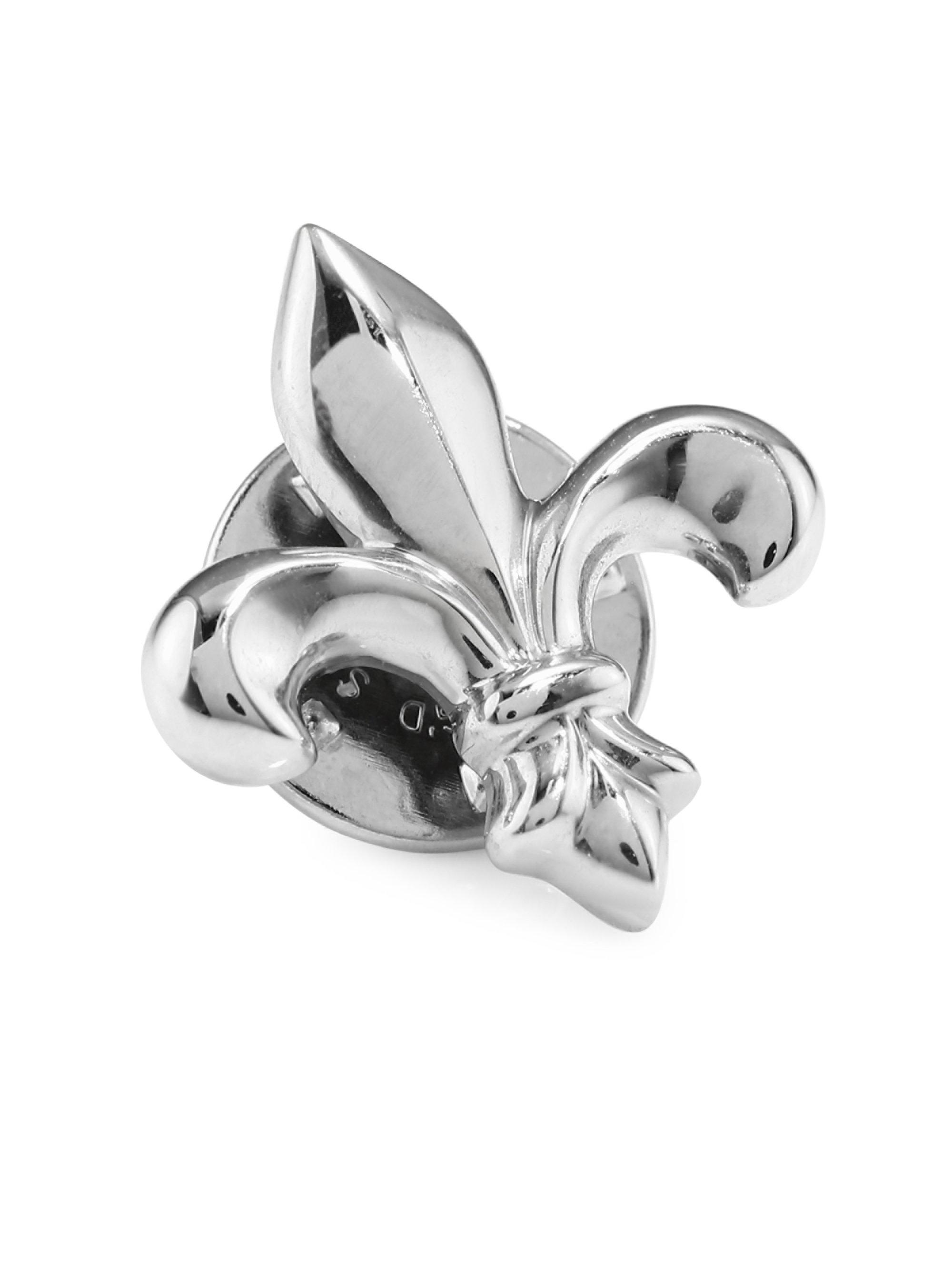 David Donahue. Womenu0027s Metallic Fleur De Lis Sterling Silver Lapel Pin