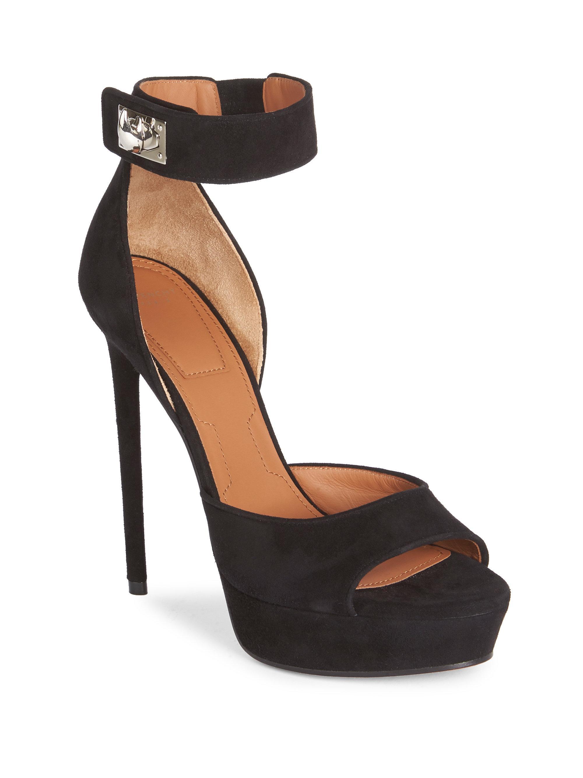 e91fffc5f62 Lyst - Givenchy Suede Shark-lock Platform Sandals in Black