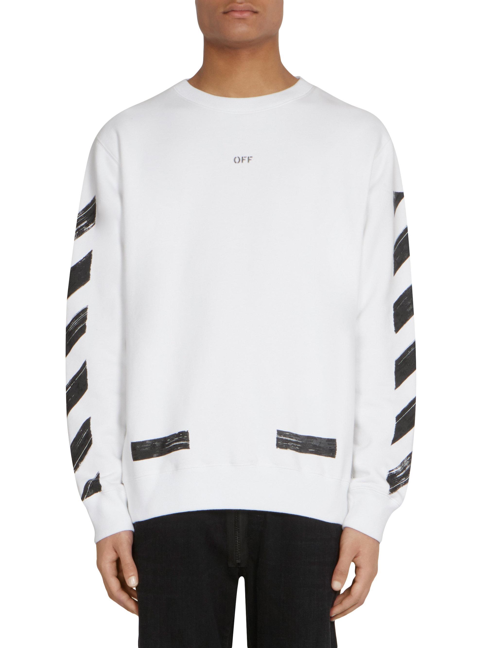 0305cd0caef5 Off-White c o Virgil Abloh Diagonal Brushed Crewneck Sweatshirt in ...