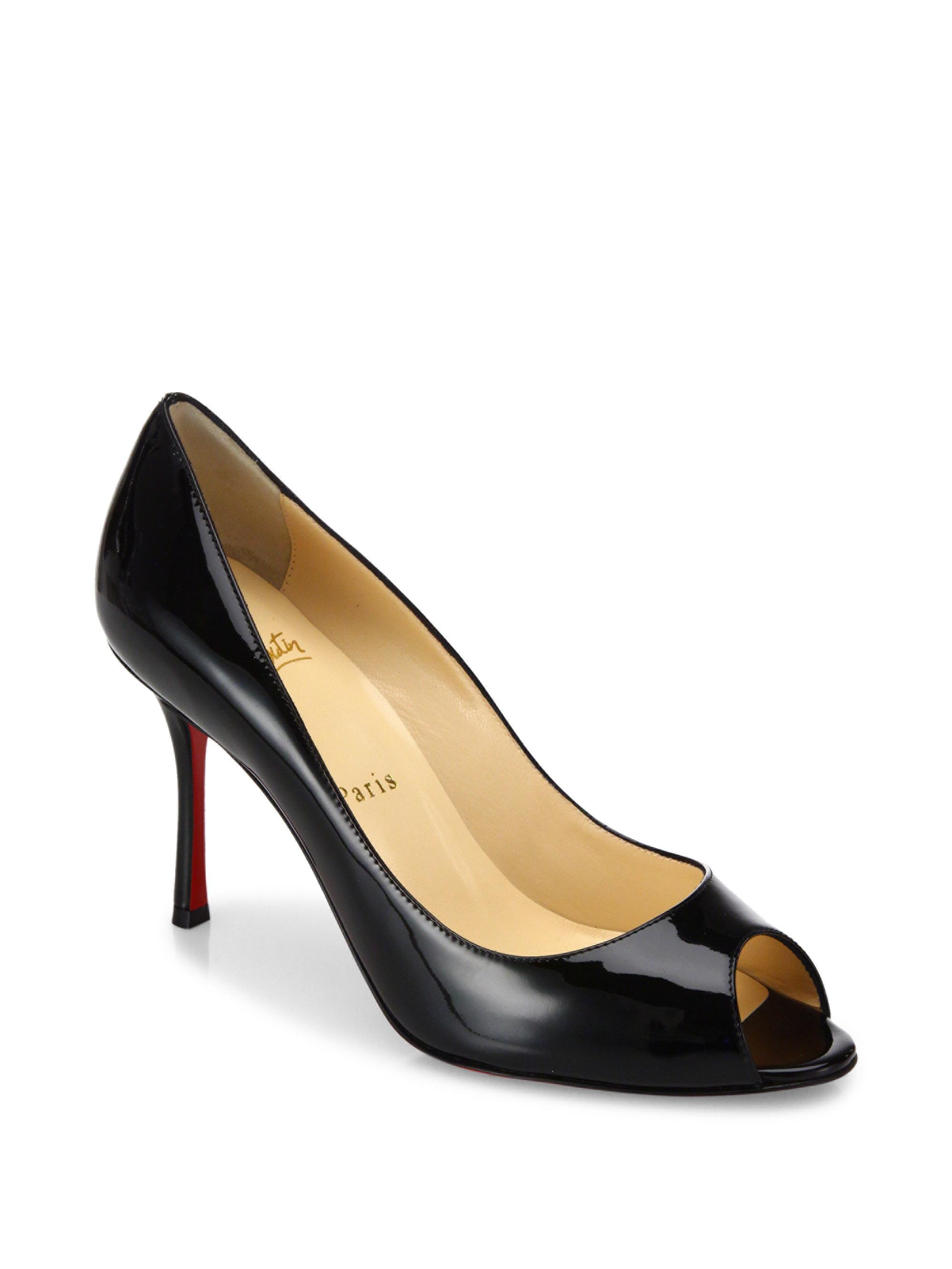 773fcd42a88 Lyst - Christian Louboutin Yootish 85 Patent Leather Peep Toe Pumps ...