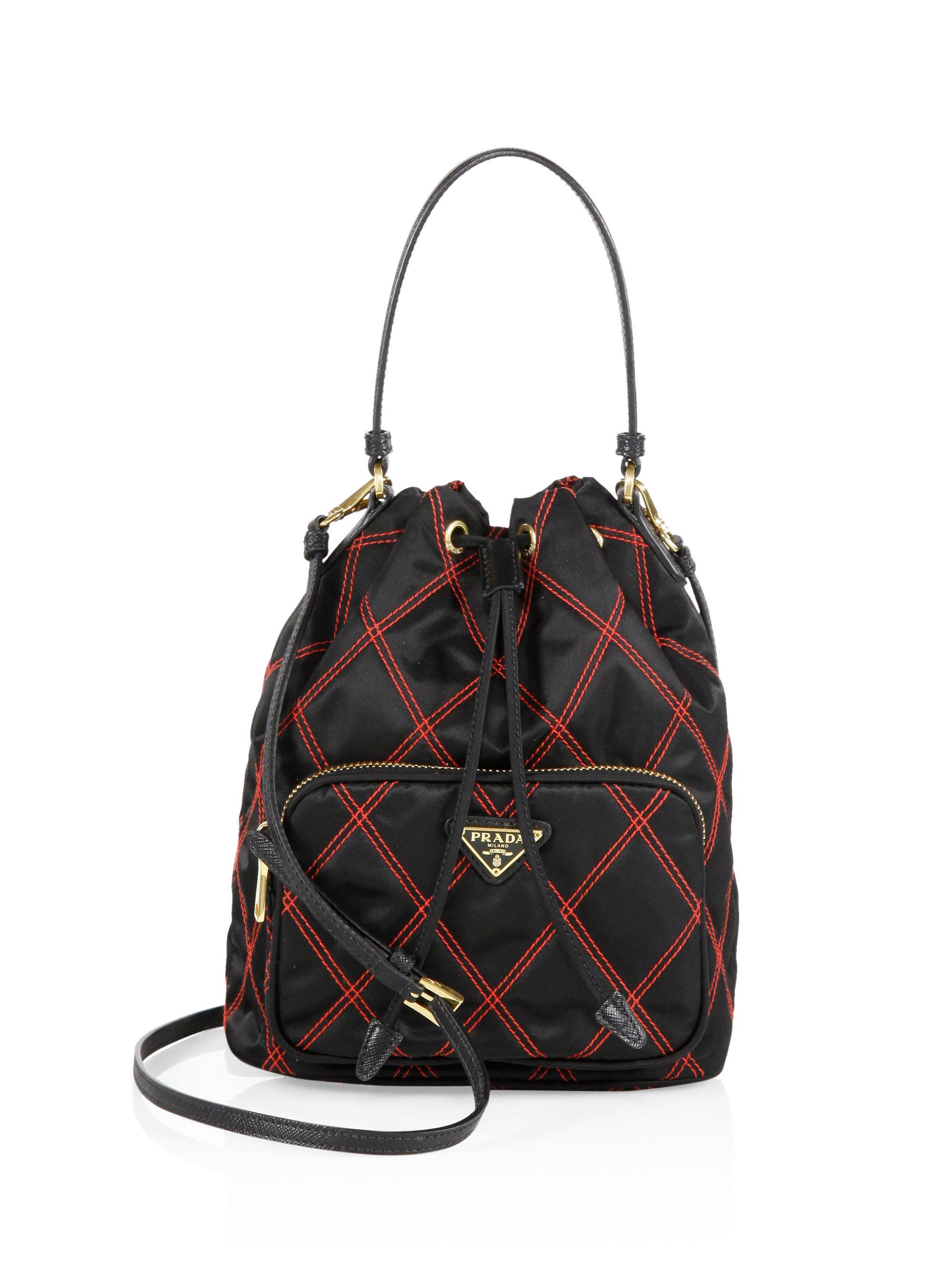 c4e2ddbe9846 Prada Tessuto Impunturato Quilted Nylon Bucket Bag in Black - Lyst