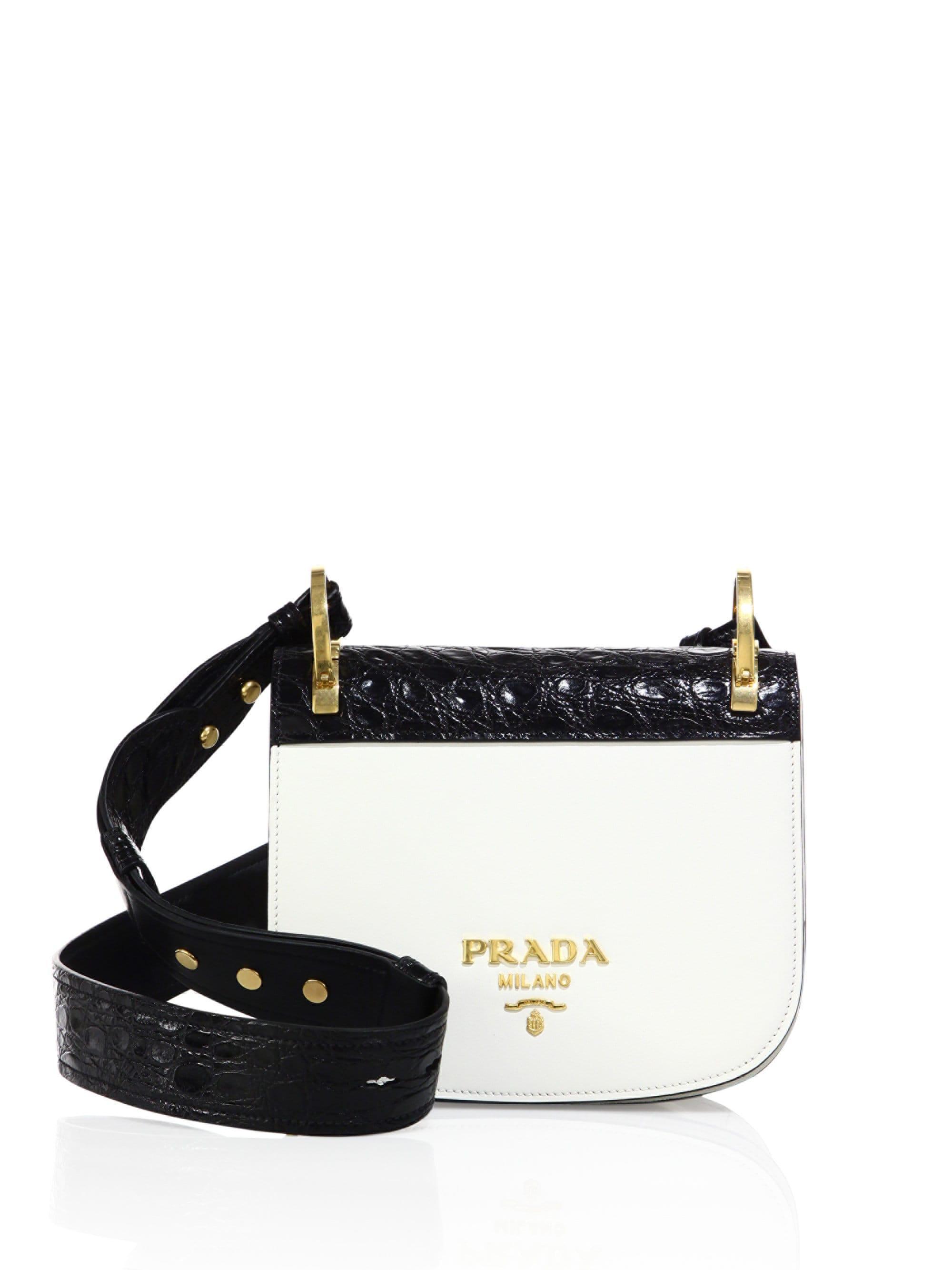 e7898432ebc123 Prada Pionniere Leather And Crocodile Saddle Bag in White - Lyst