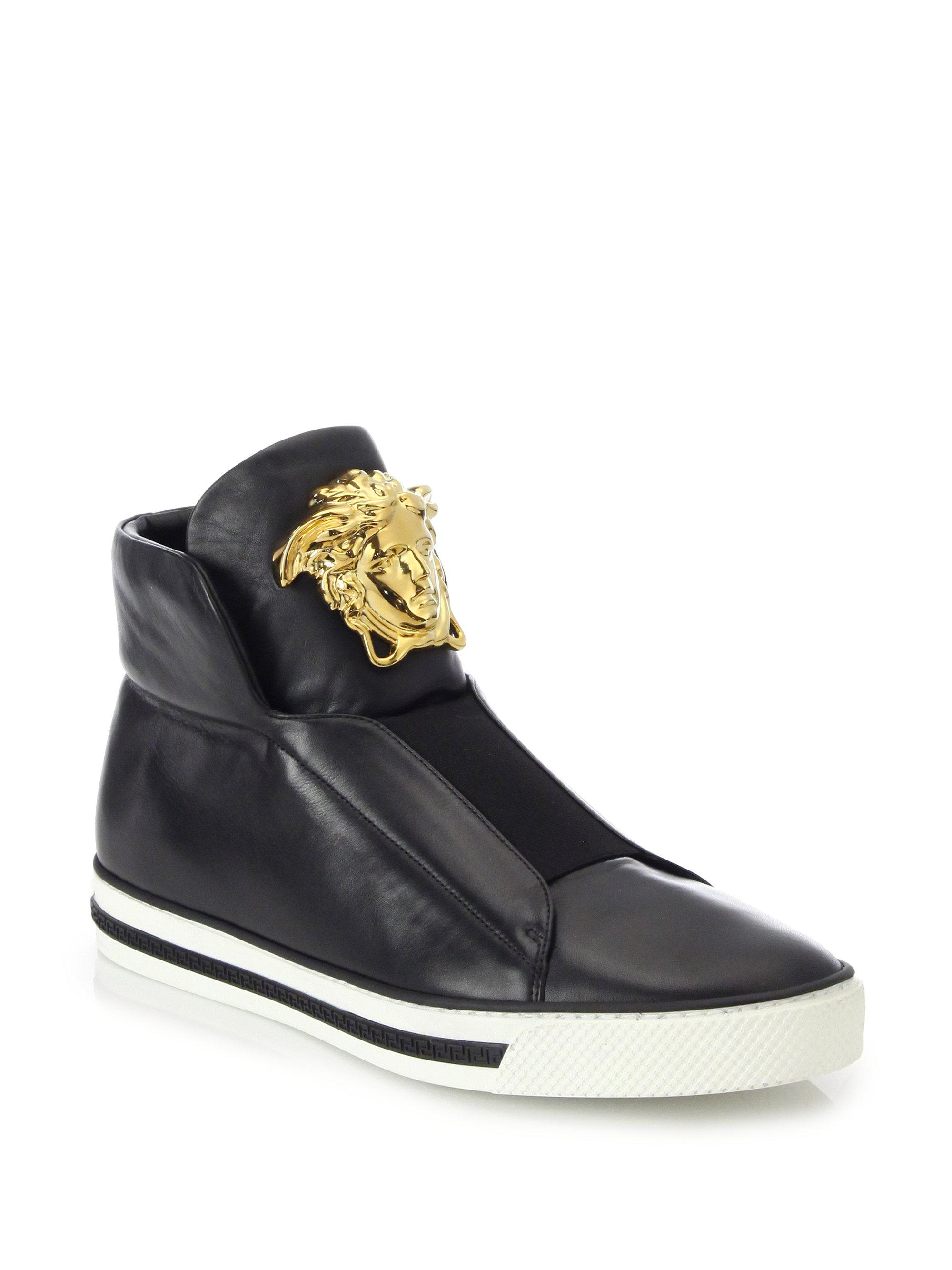 Versace. Men's Black First Idol Leather High-top Trainers
