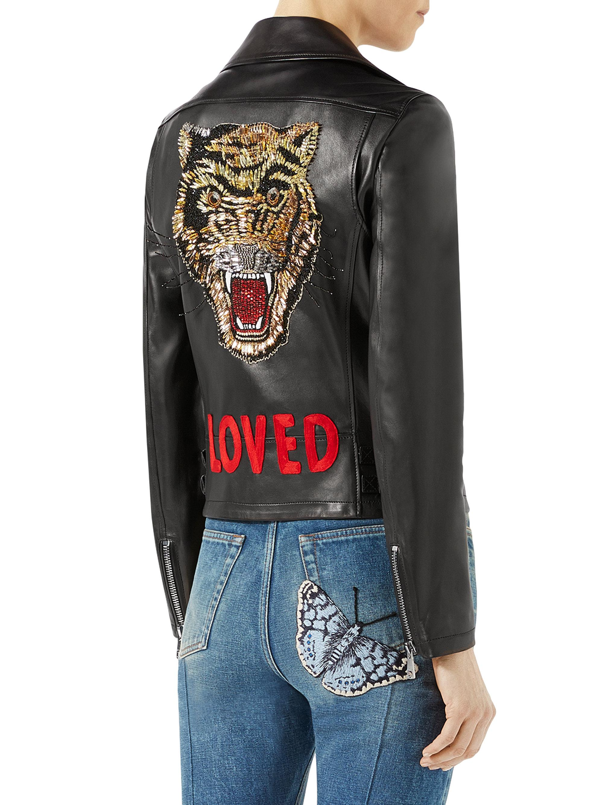 Gucci Women s Loved Tiger-embroidered Leather Jacket - Black - Size 46 (10)  in Black - Lyst 2d5ad640cf30