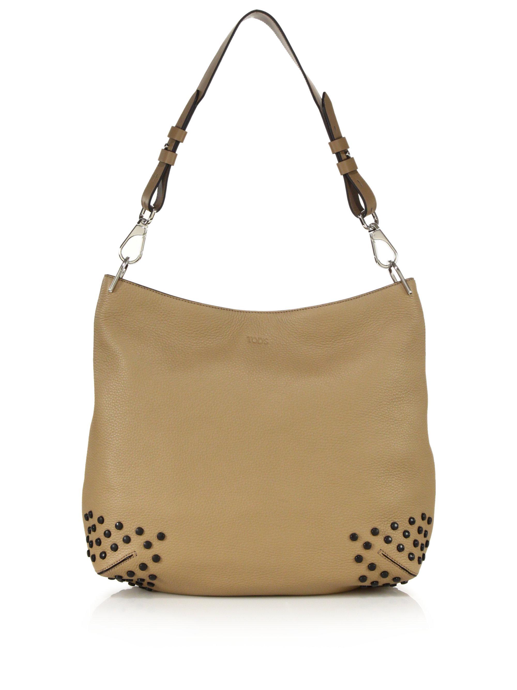 Tod's. Women's Natural Gommini Medium Leather Hobo Bag