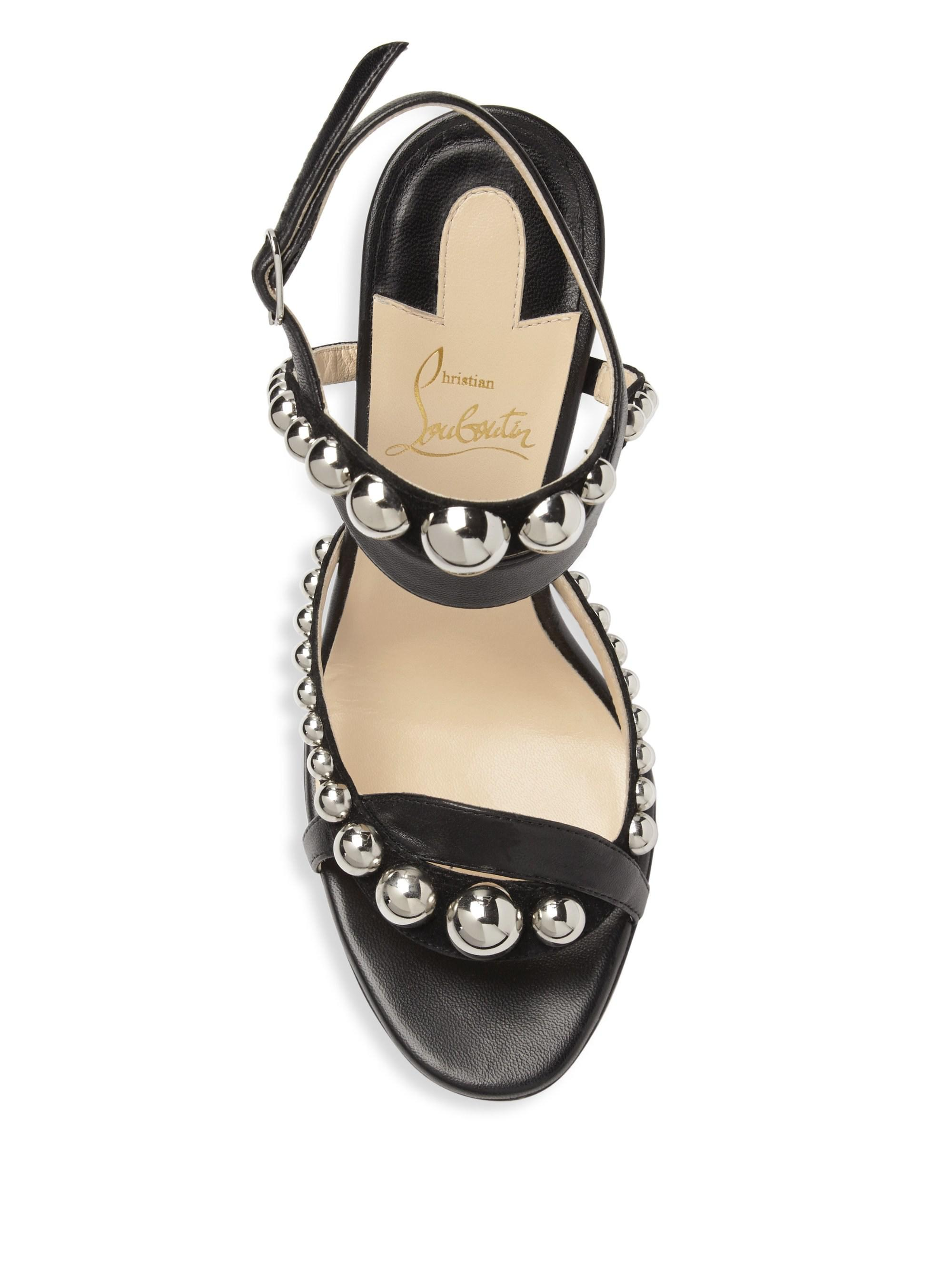 3af63c4f1336 Christian Louboutin Galleria 100 Leather Stud Sandals in Black - Lyst