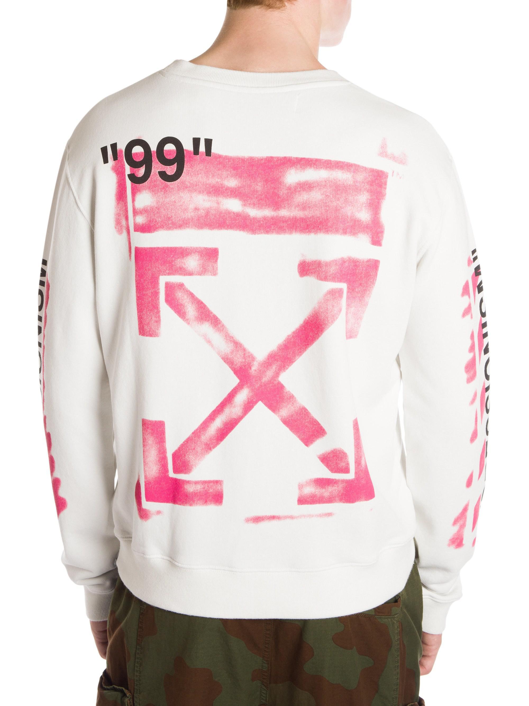 6dded3407fb Off-White c o Virgil Abloh Men s Diagonal Stencil Sweatshirt - White ...