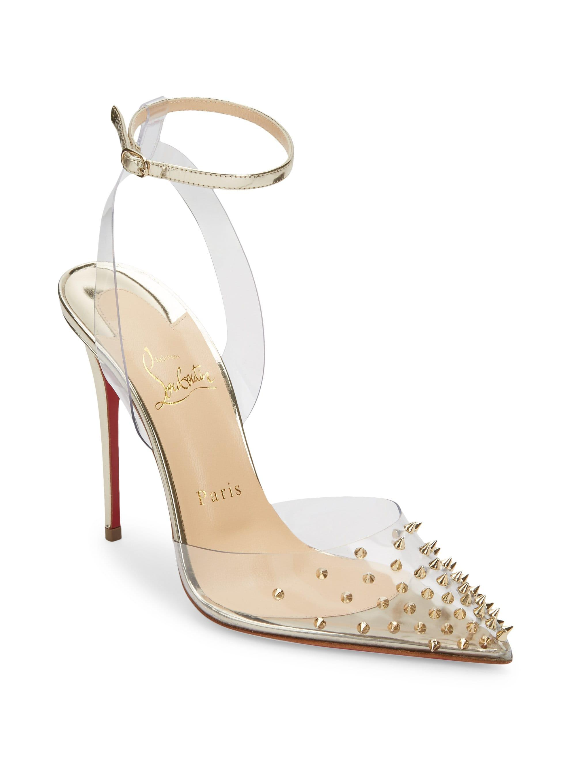 cba379b88d6 Christian Louboutin Spikko 100 Studded Translucent Pumps in Metallic ...
