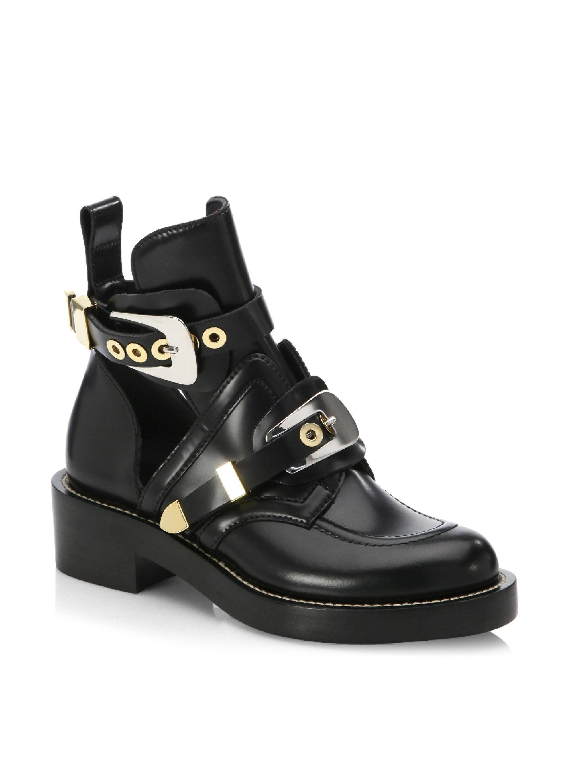 Balenciaga. Women's Black Cutout Leather Creeper Boots
