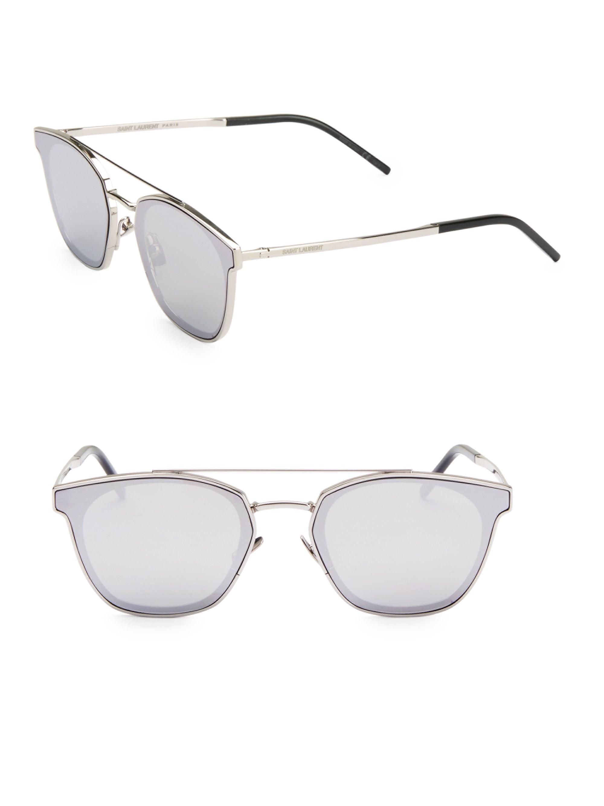 eb13da8f43 Lyst - Saint Laurent Men s 61mm Unisex Square Sunglasses - Silver in ...