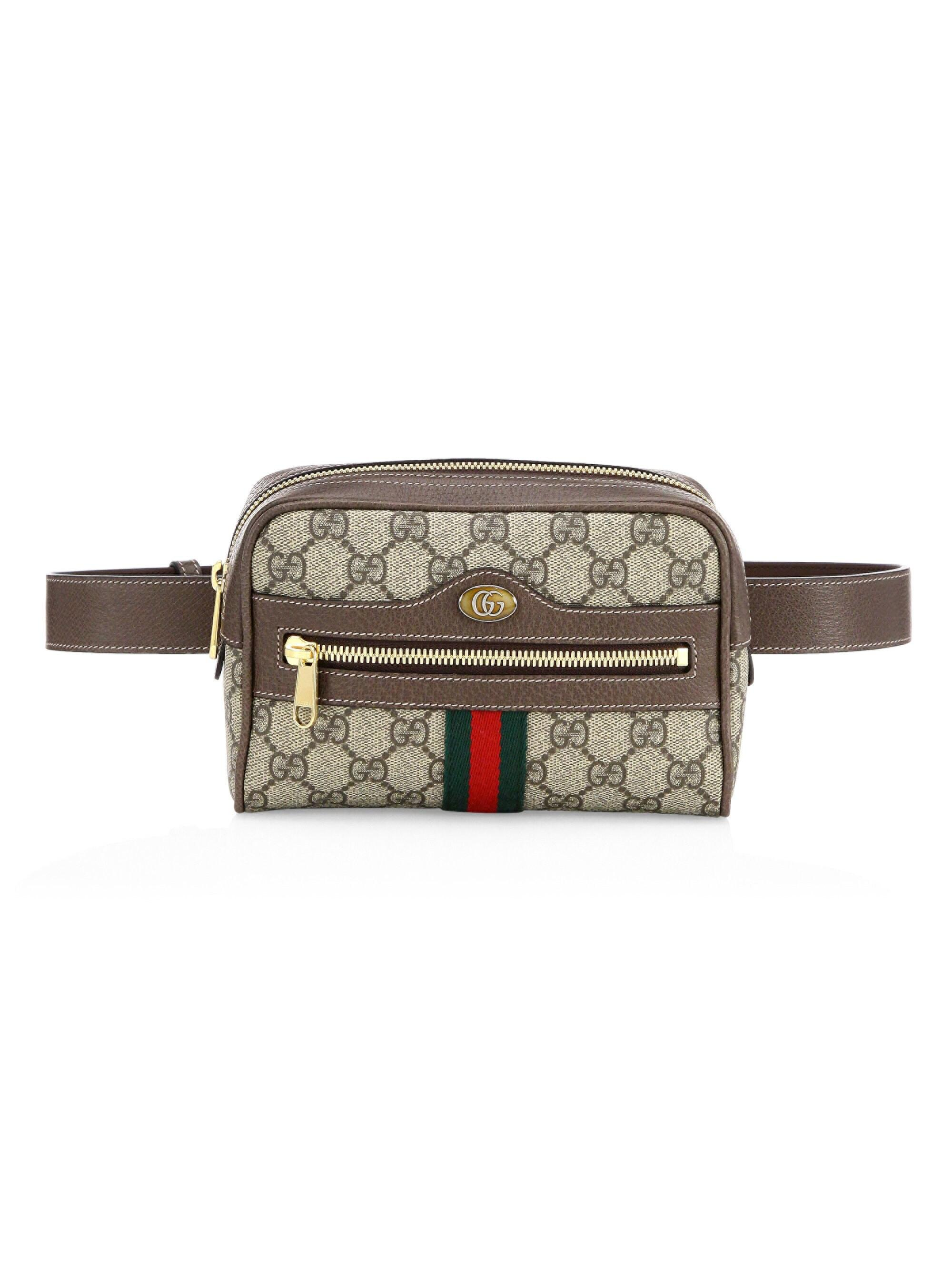 8a3f70aa7854e7 Gucci Brown Ophidia GG Supreme Small Belt Bag in Brown - Lyst