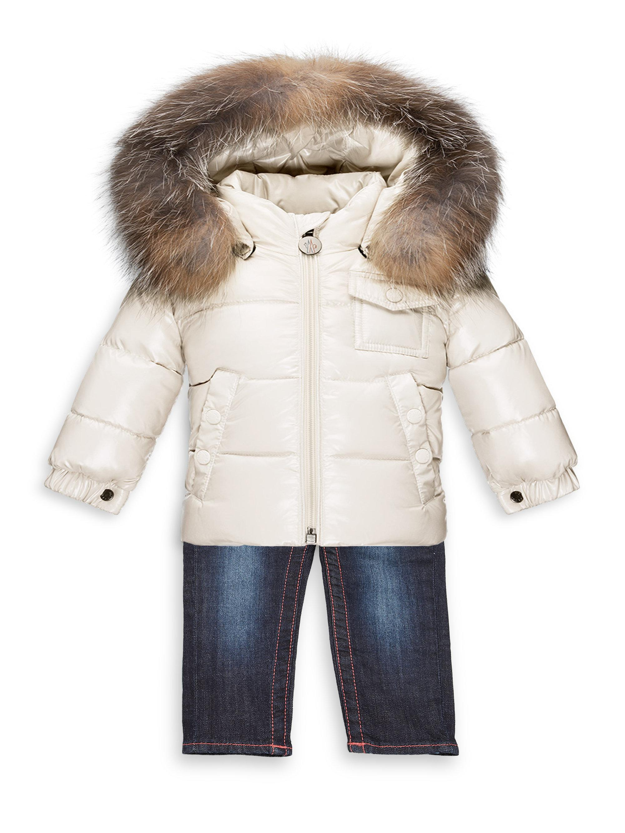 5cce491d3 Moncler Baby s K2 Fur-trim Puffer Jacket in Natural - Lyst