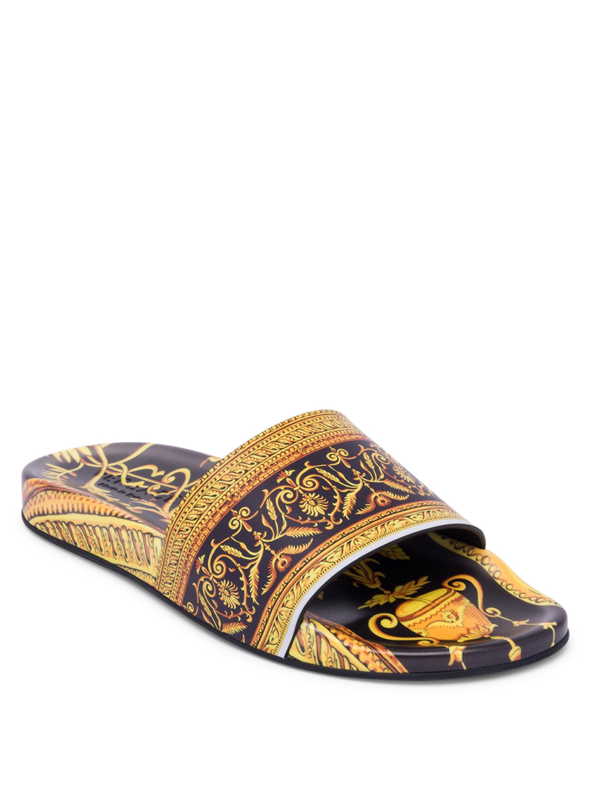 ee0b76ce4ef3 Versace Baroque Print Rubber Slides for Men - Lyst