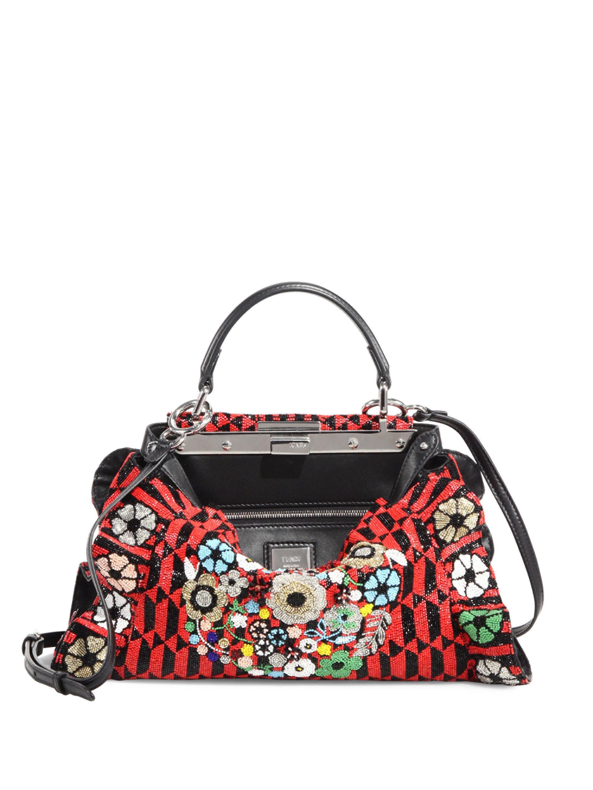c59dc43fa3c Lyst - Fendi Mini Peekaboo Bead-embroidered Handbag