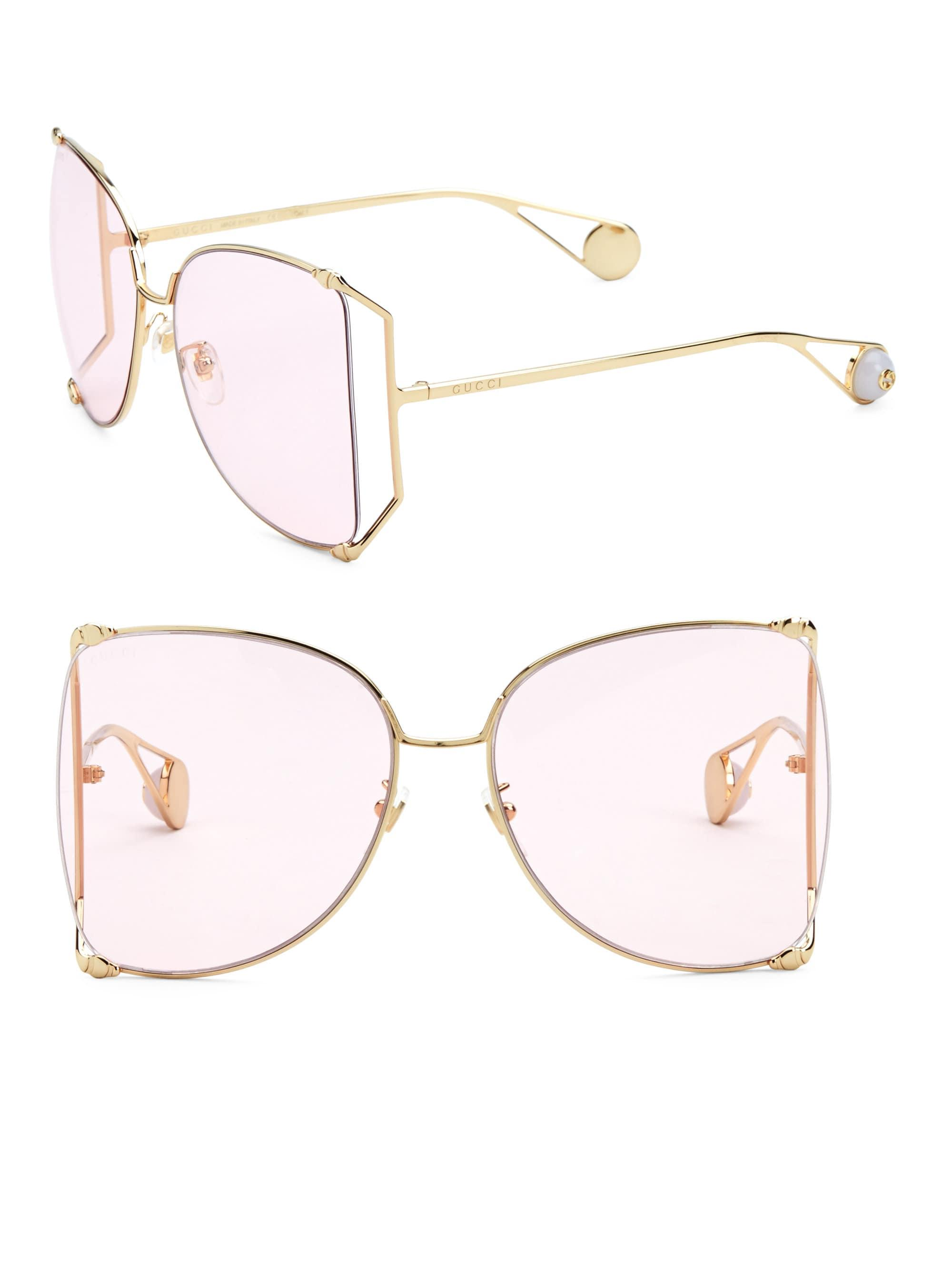 59d8673450 Lyst - Gucci Women s 63mm Butterfly Sunglasses - Gold in Metallic