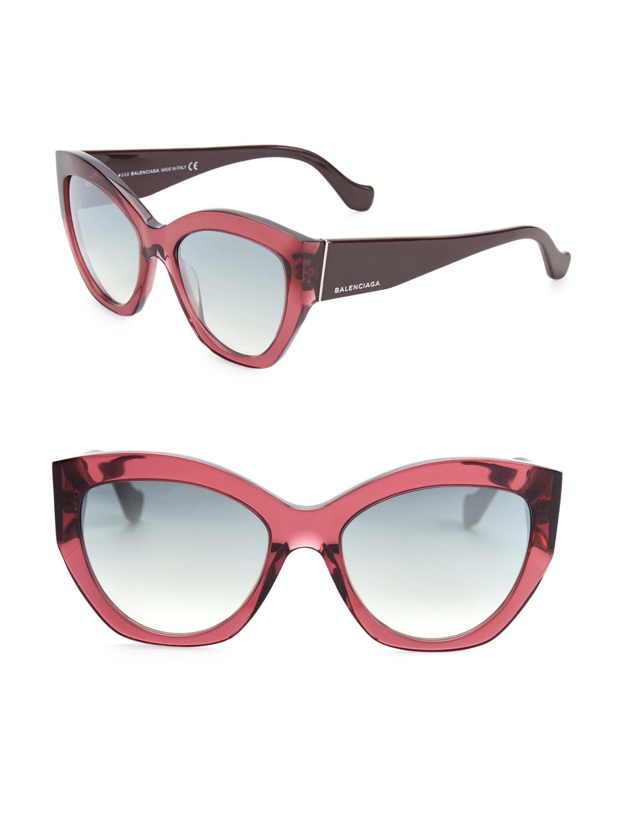805d92fd1a Lyst - Balenciaga 56mm Mirrored Cat Eye Sunglasses