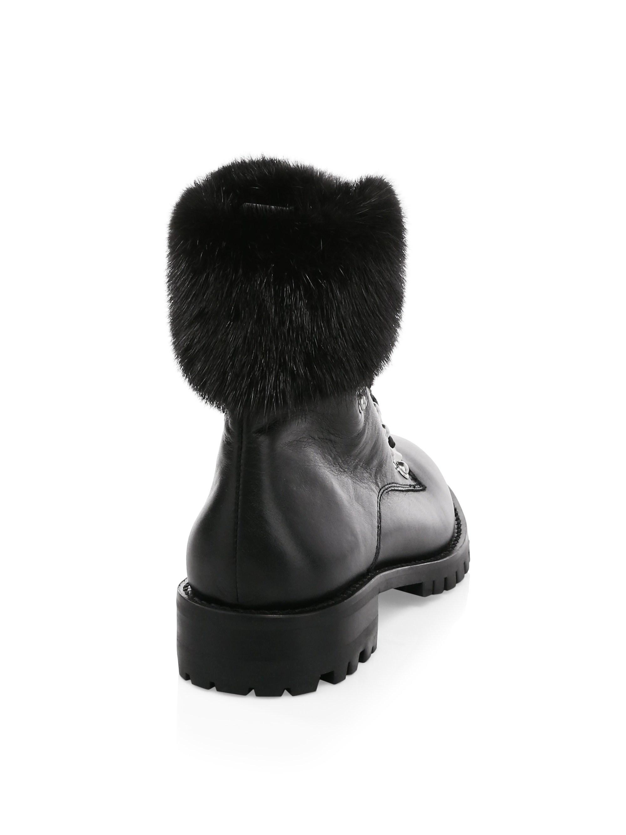 15951fd3cb5 Rebecca Minkoff Jaylin Fox-fur Trim Leather Combat Boots in Black - Lyst