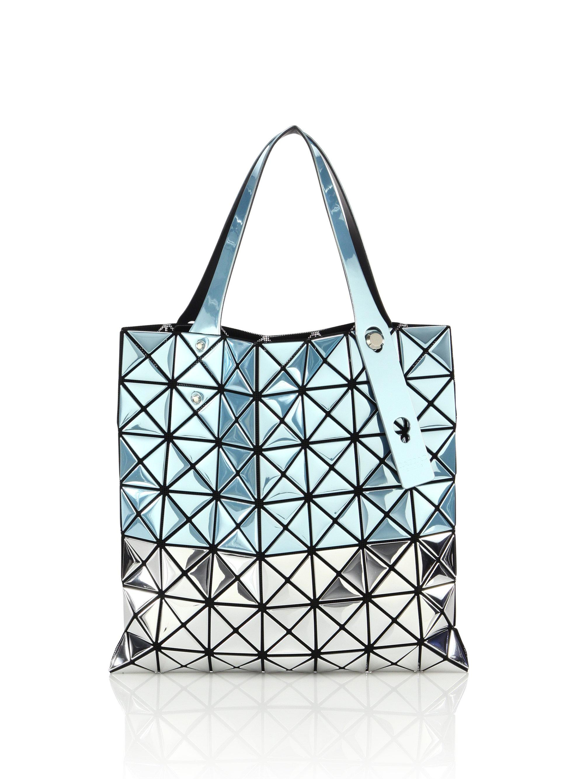 Bao Issey Miyake Platinum Small Two Tone Tote In Blue