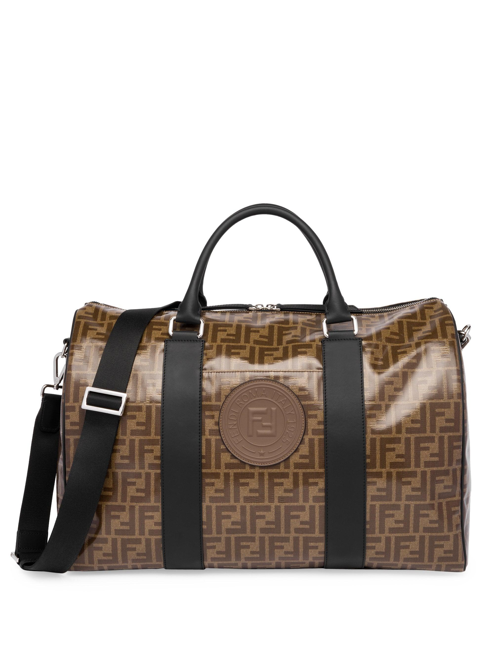 7a34e39afb01 Lyst - Fendi Ff Vetrificato Print Duffle Bag in Brown for Men