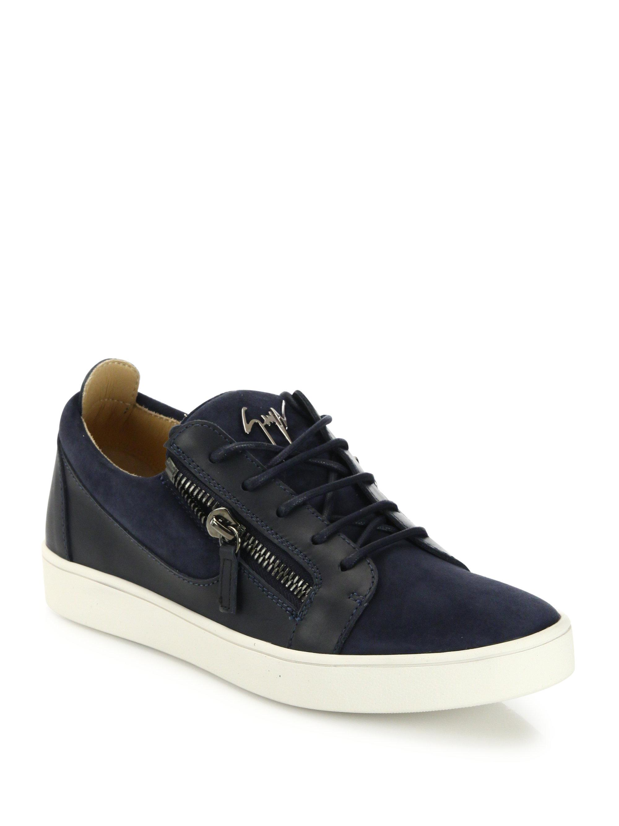 Giuseppe ZanottiZippered Suede & Leather Low-Top Sneakers 4JH7P