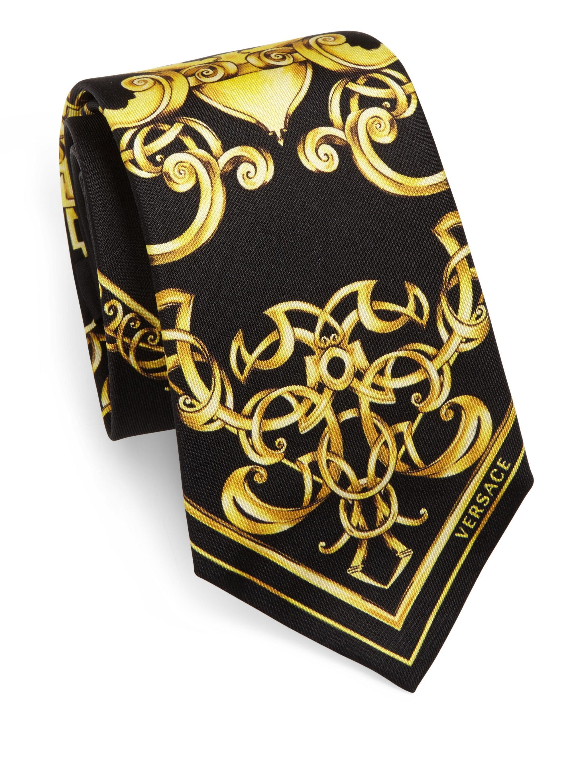 f619fba4 Lyst Versace Black Baroque Tie For Men