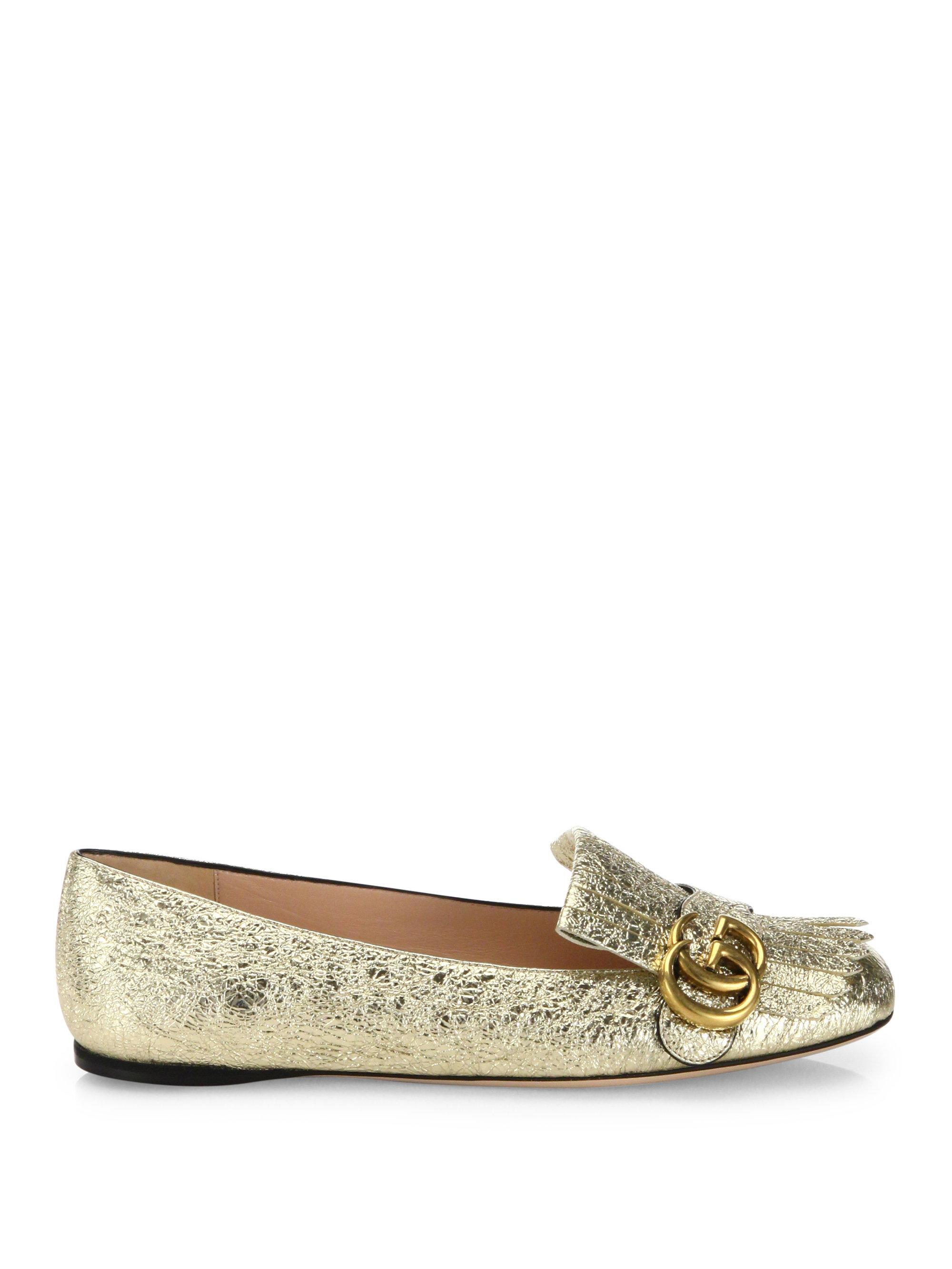 ScXTDxKgV0 Marmont GG Metallic Leather Kiltie Flats zv5spd5A