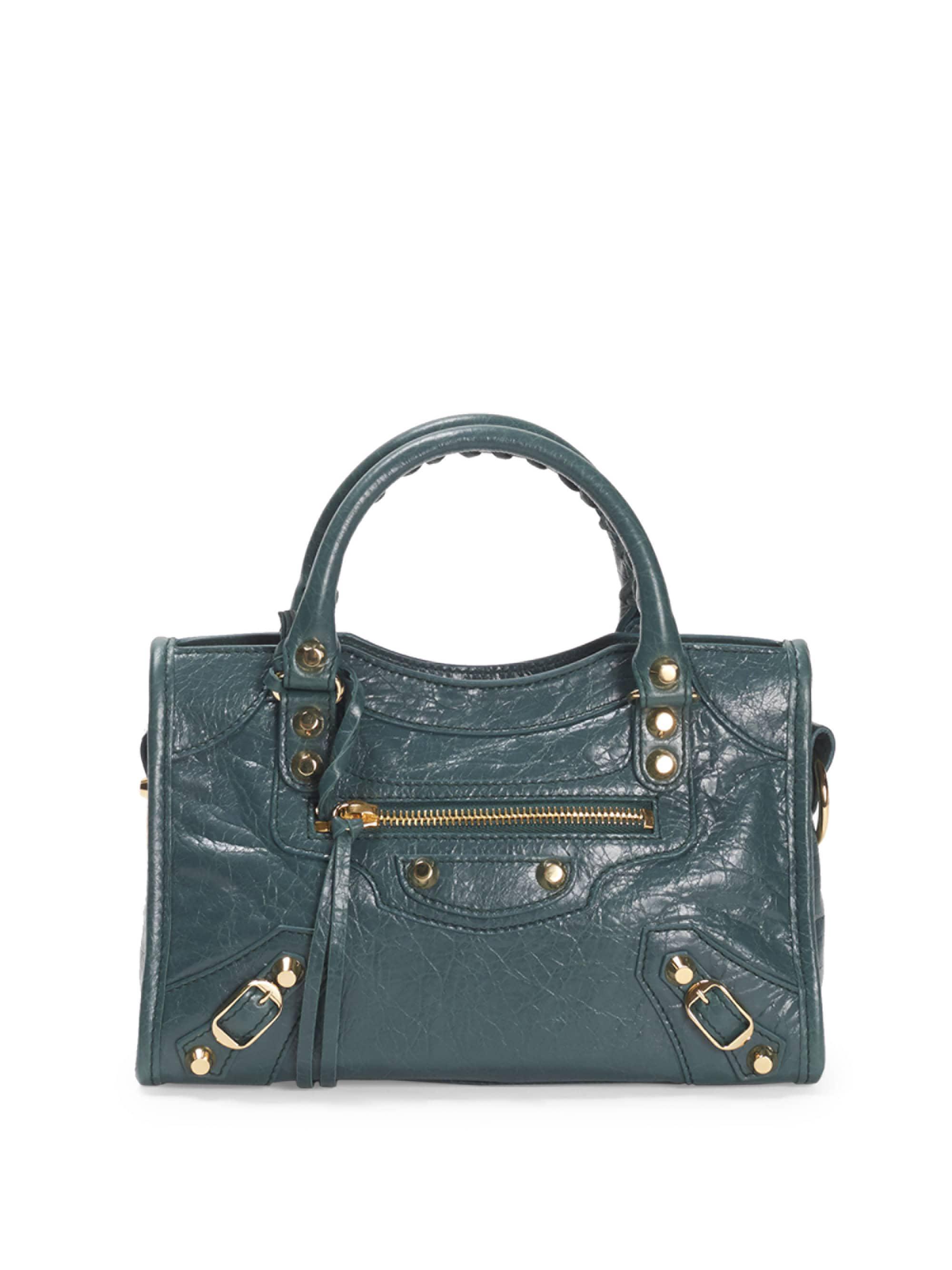 cb61fd2c19 Balenciaga Medium City Leather Satchel in Green - Lyst